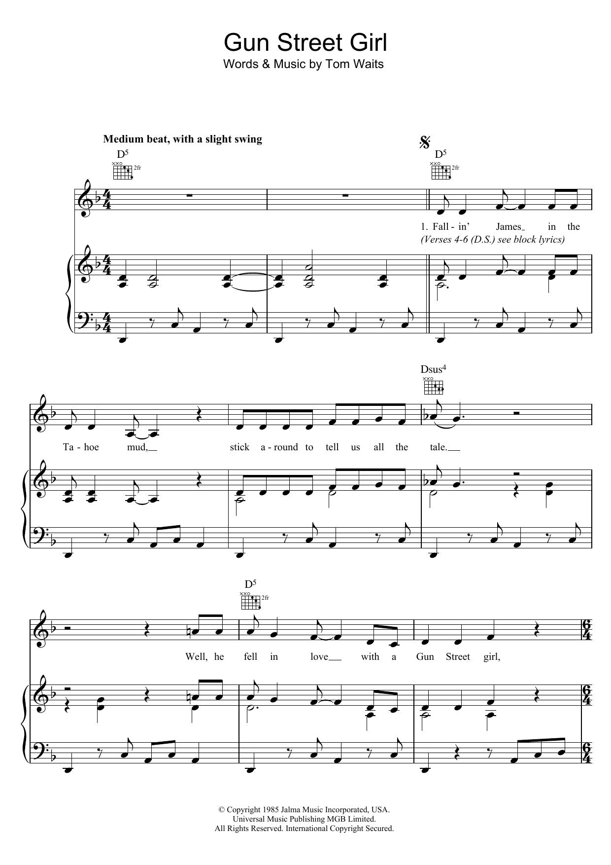 Gun Street Girl (Piano, Vocal & Guitar)