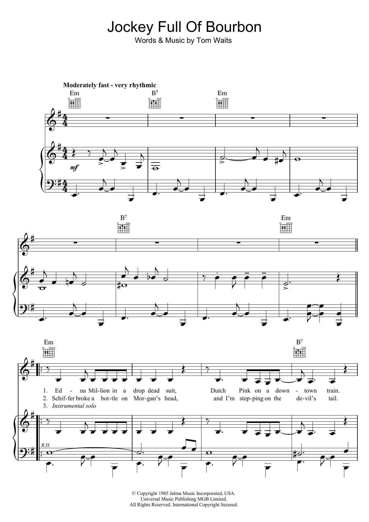 Jockey Full Of Bourbon Sheet Music