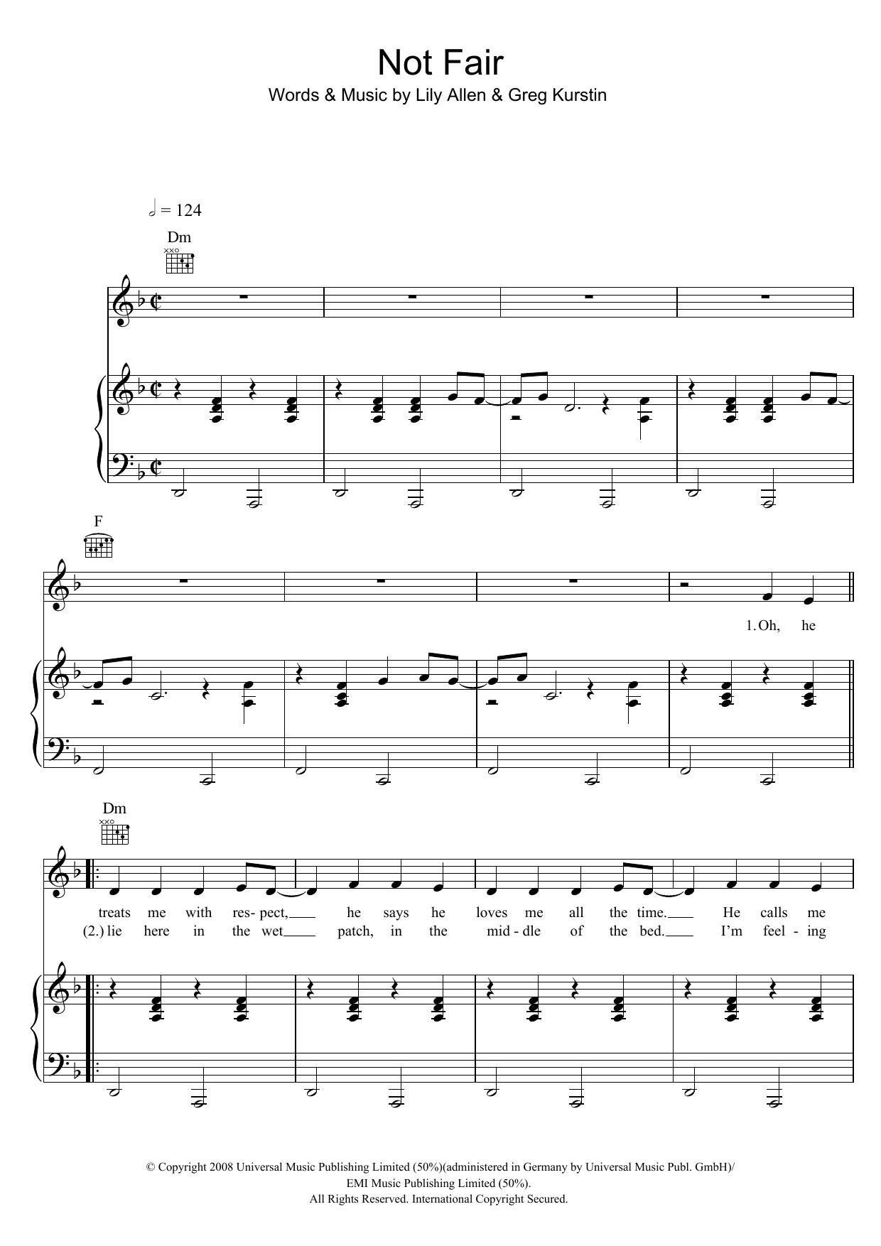 Not Fair (Piano, Vocal & Guitar)