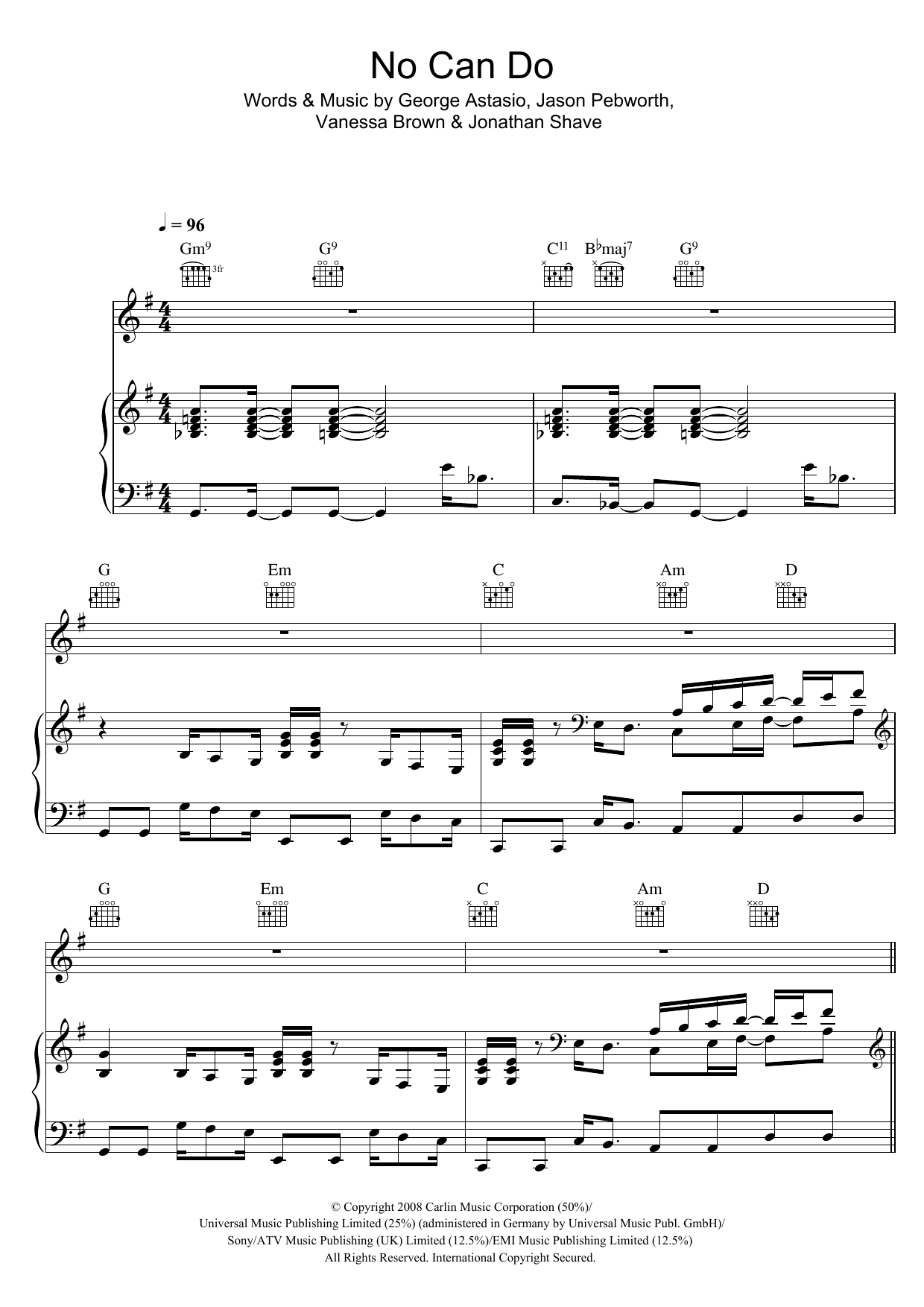 No Can Do (Piano, Vocal & Guitar)