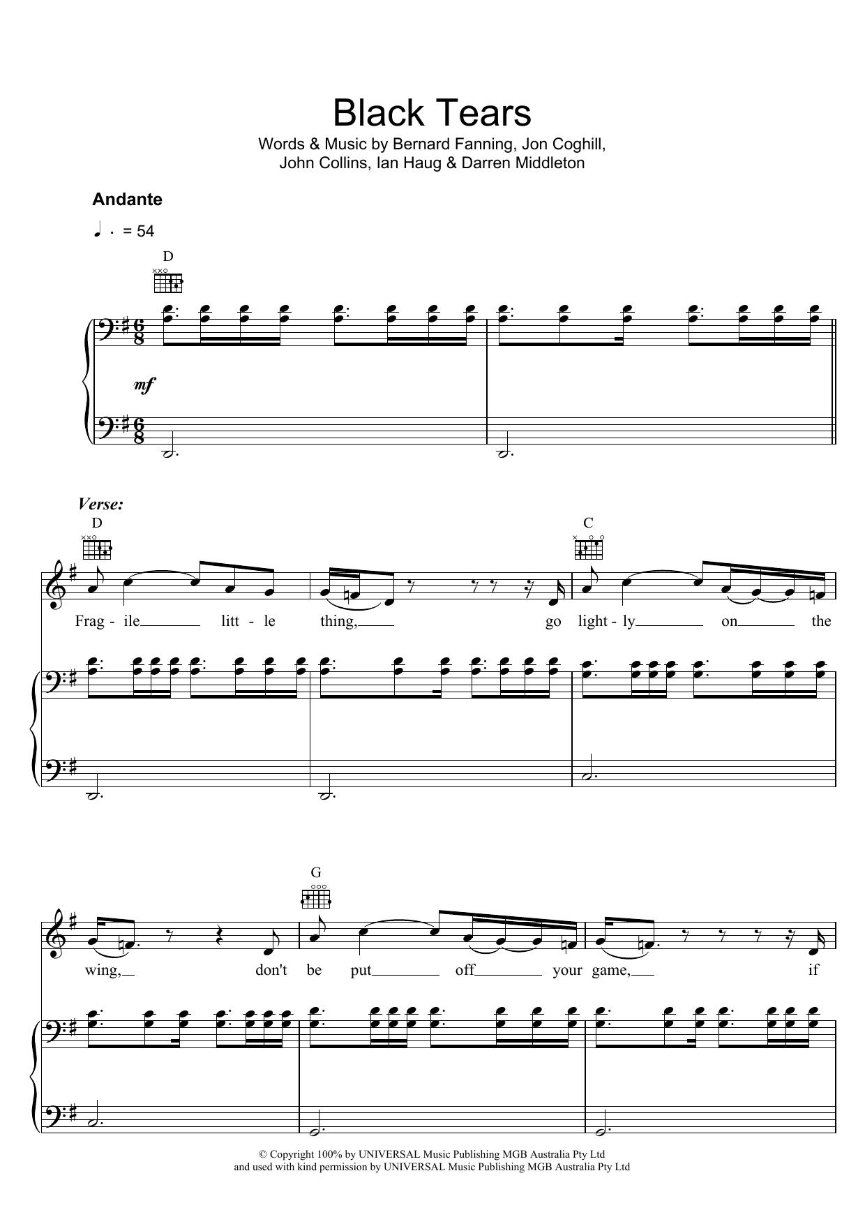 Black Tears (Piano, Vocal & Guitar)
