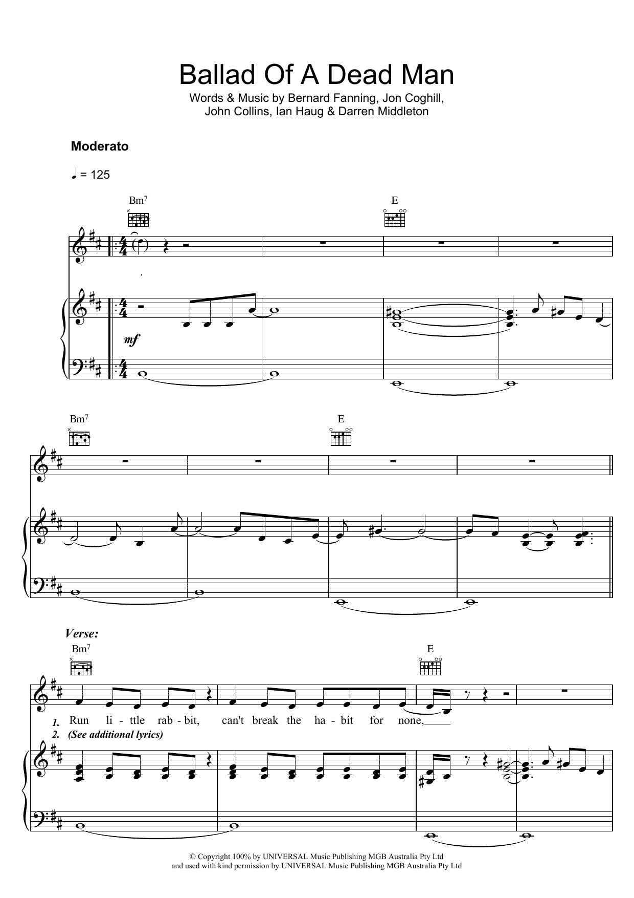 Ballad Of A Dead Man (Piano, Vocal & Guitar)