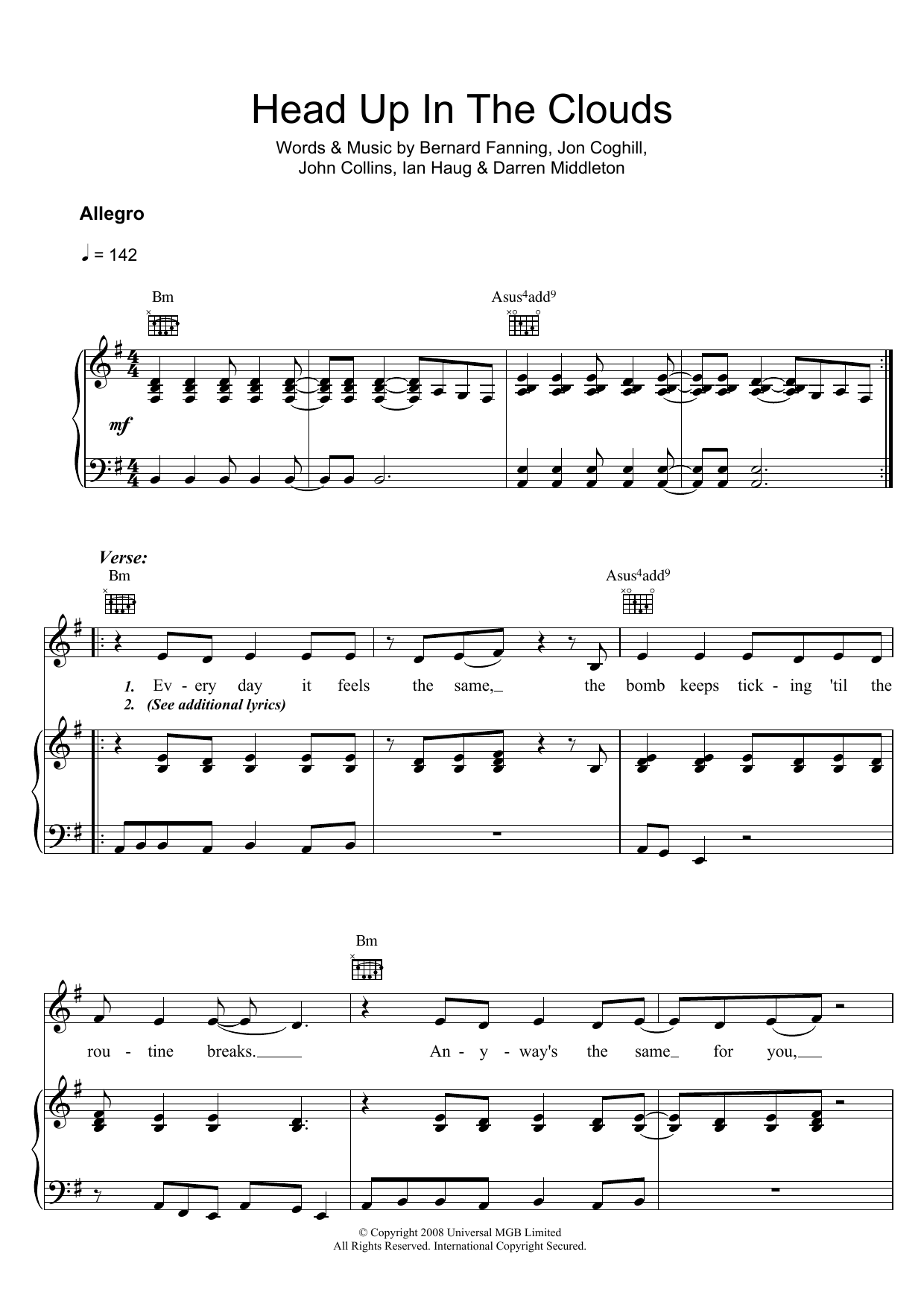 Head Up In The Clouds Sheet Music