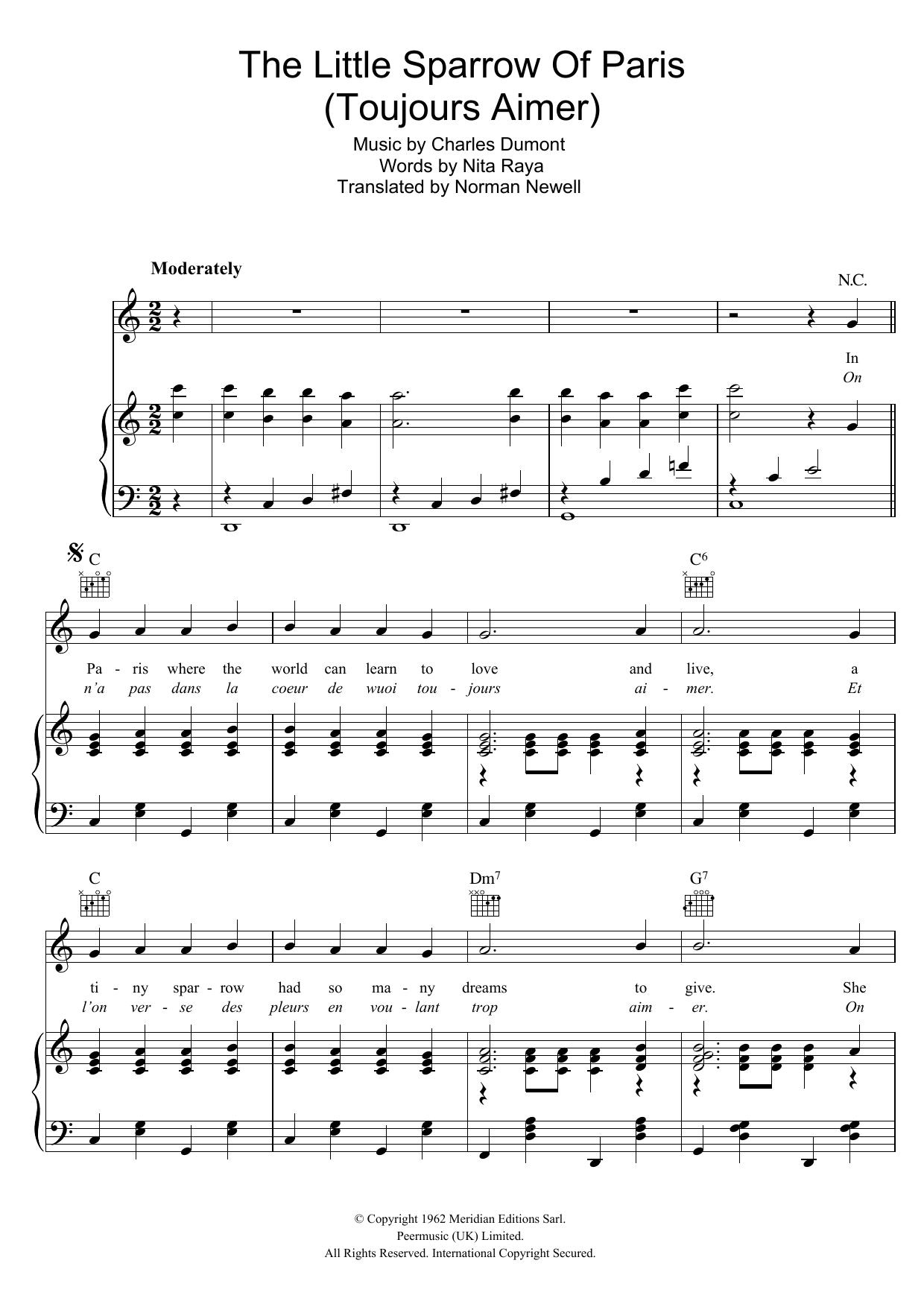 The Little Sparrow Of Paris (Toujours Aimer) (Piano, Vocal & Guitar)
