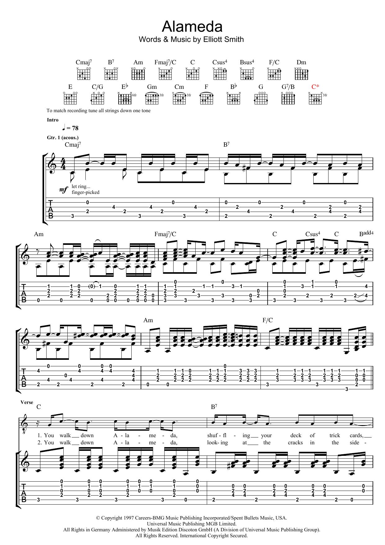 Alameda By Elliott Smith Guitar Tab Guitar Instructor