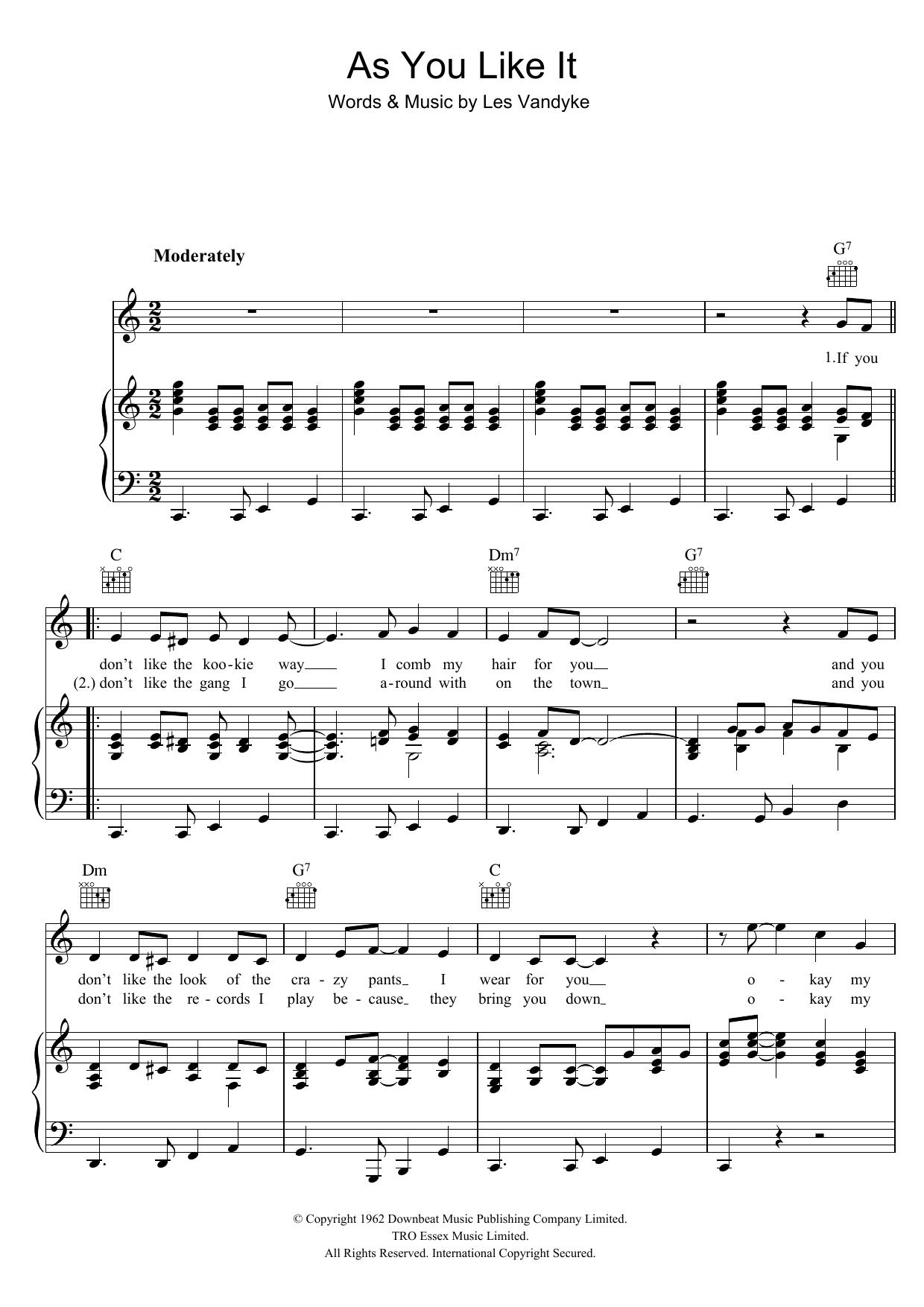As You Like It Sheet Music