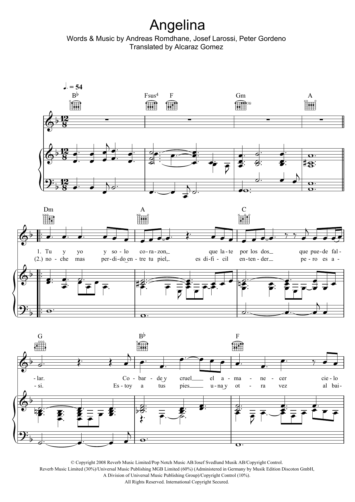 Angelina (Piano, Vocal & Guitar)