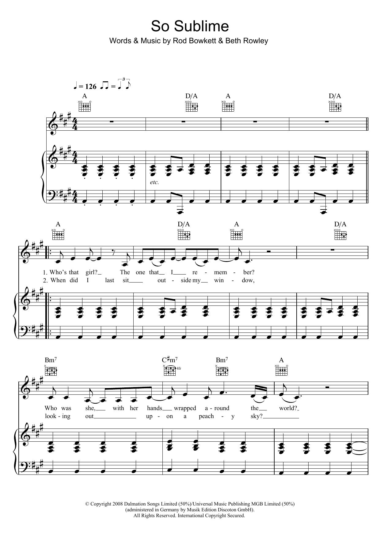 So Sublime (Piano, Vocal & Guitar)