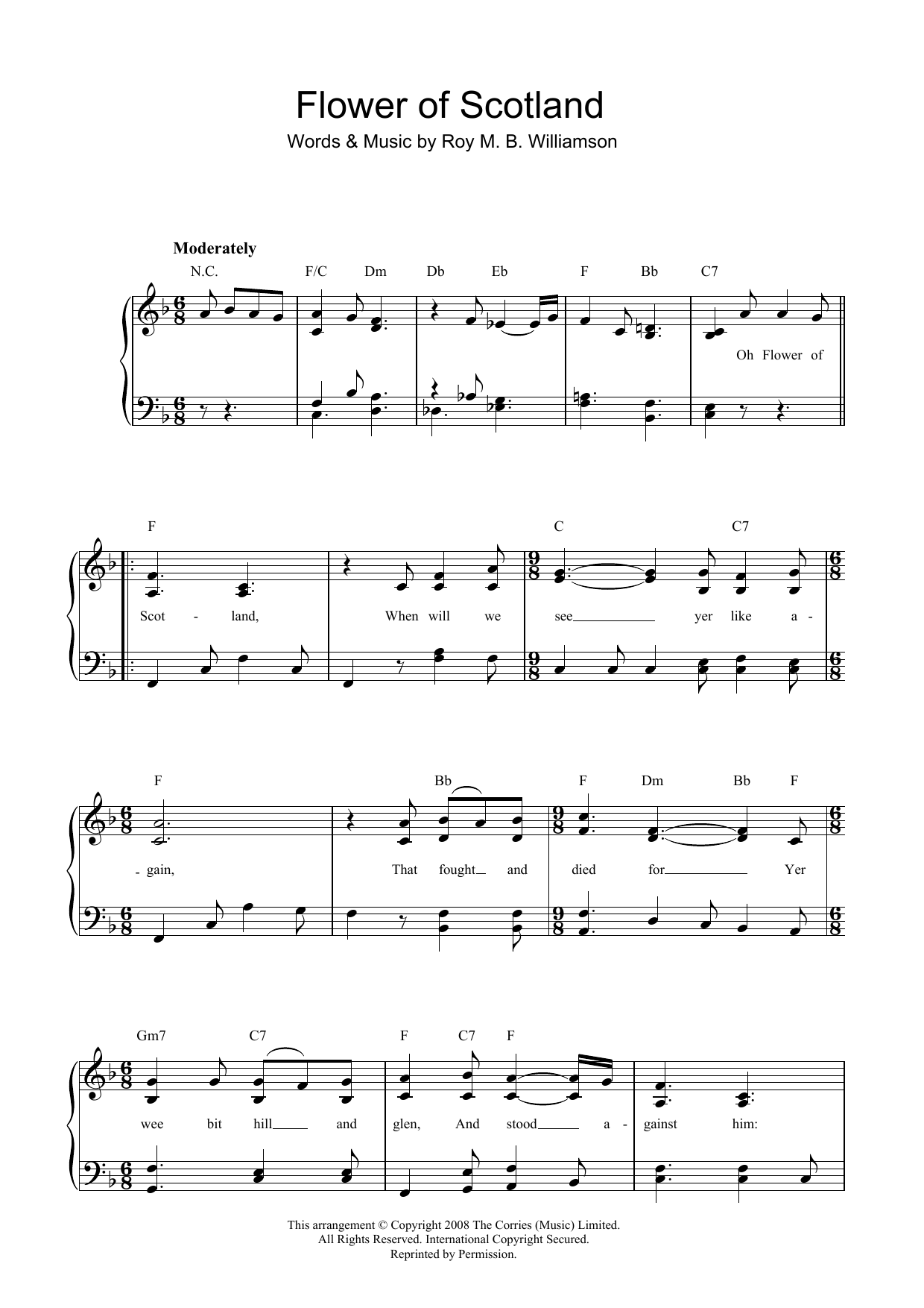 Flower Of Scotland (Unofficial Scottish National Anthem) (Piano & Vocal)