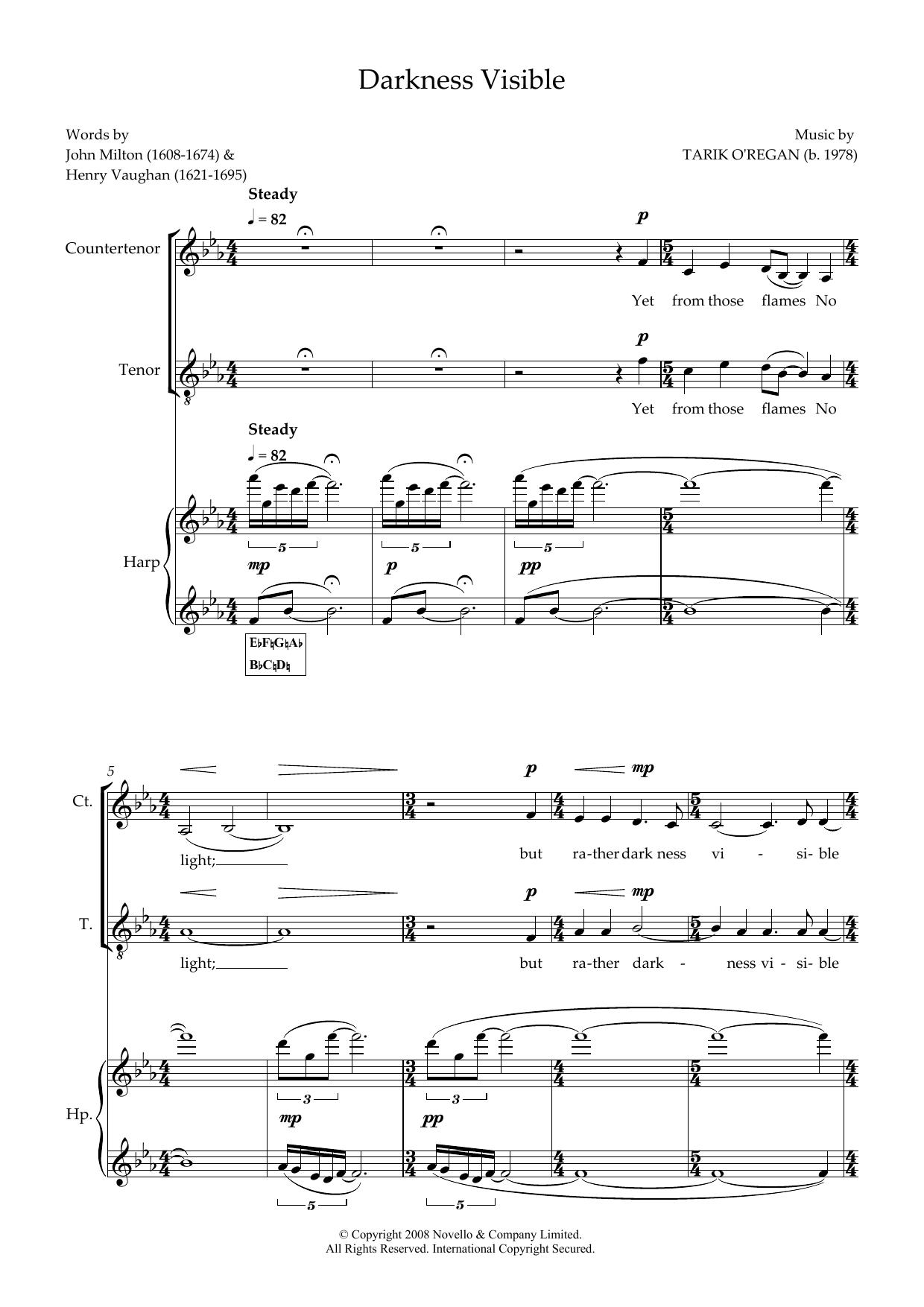 Darkness Visible (for counter-tenor, tenor & harp) Sheet Music