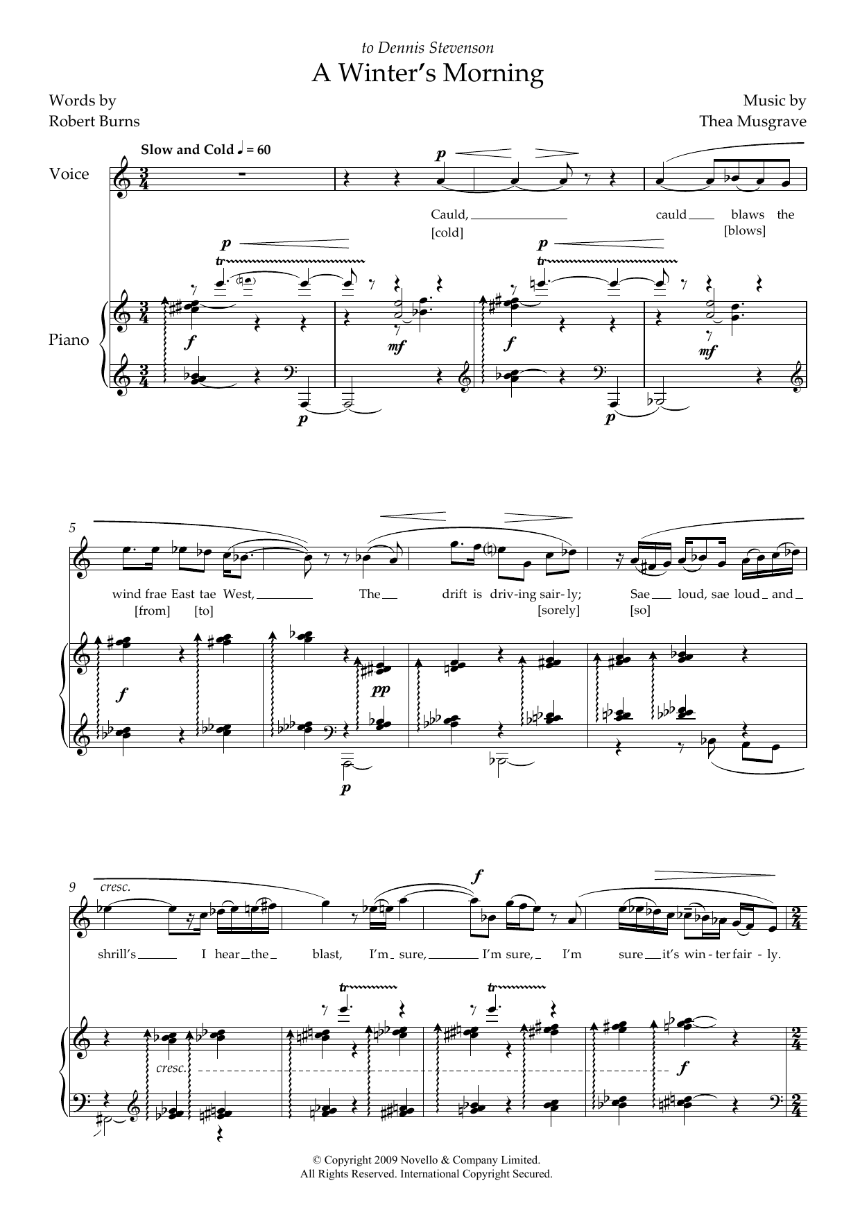 A Winter's Morning (for soprano and piano) (Piano & Vocal)