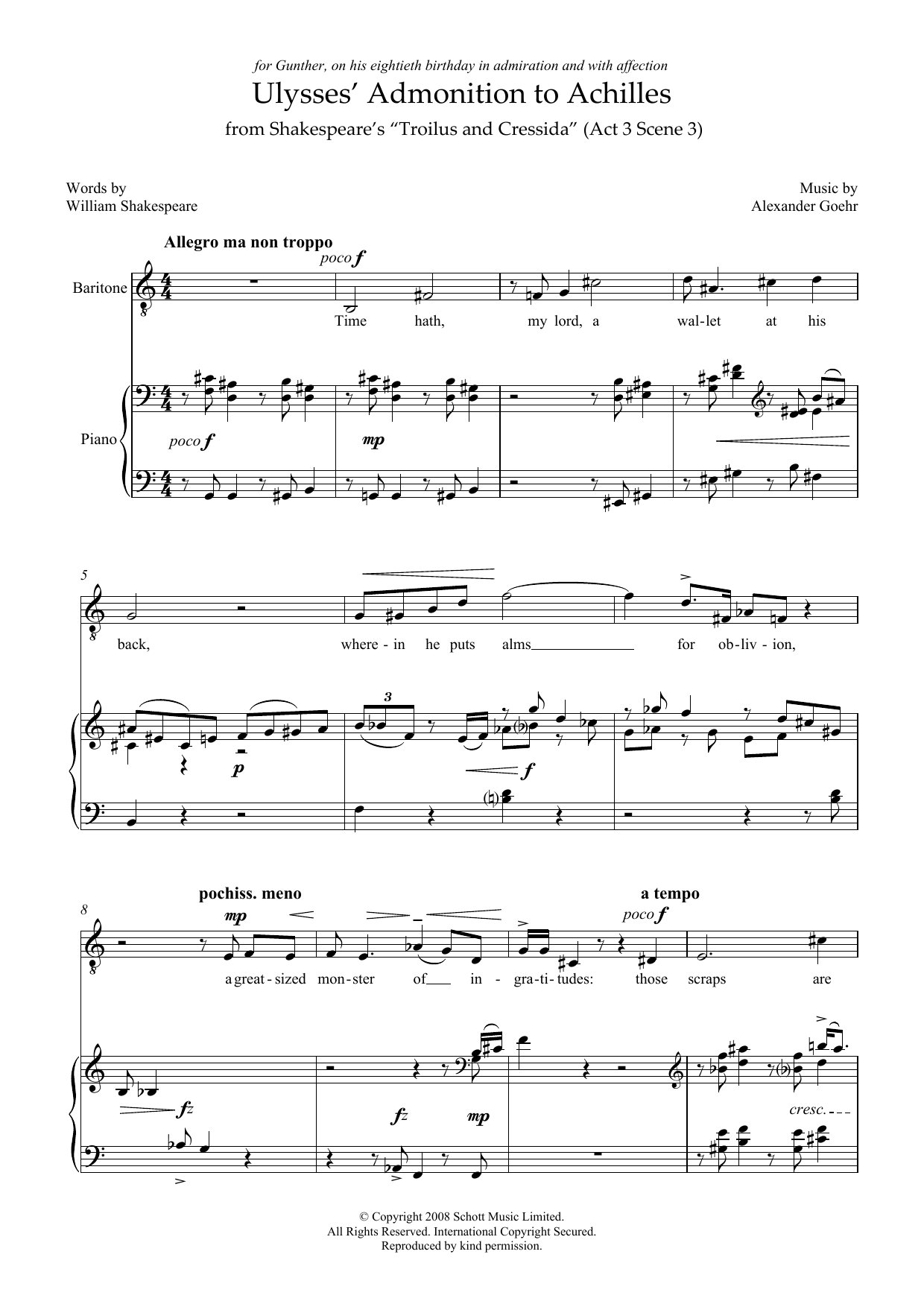 Ulysses' Admonition to Achilles (for baritone & piano) Sheet Music