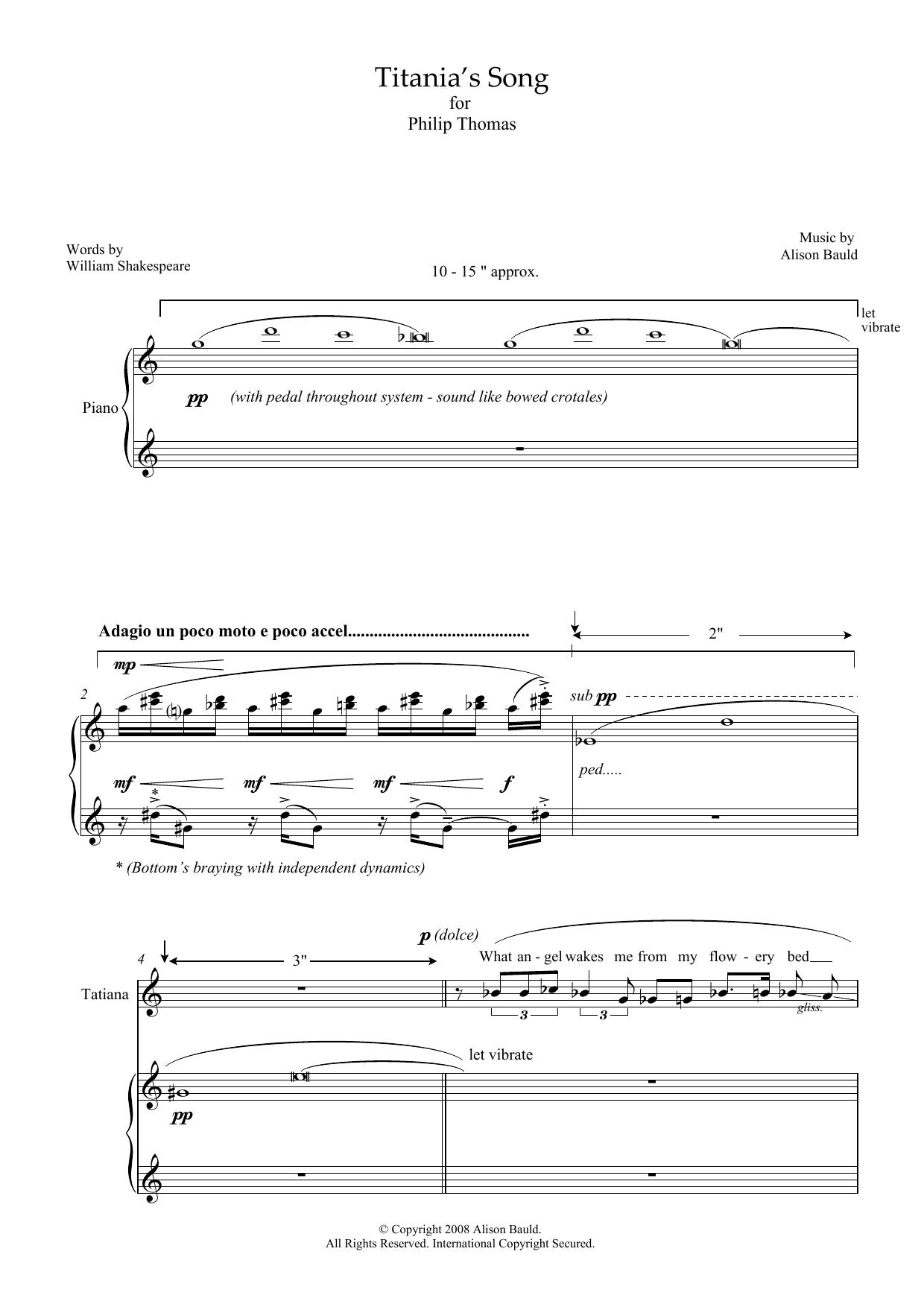Titania's Song (for soprano and piano) (Piano & Vocal)