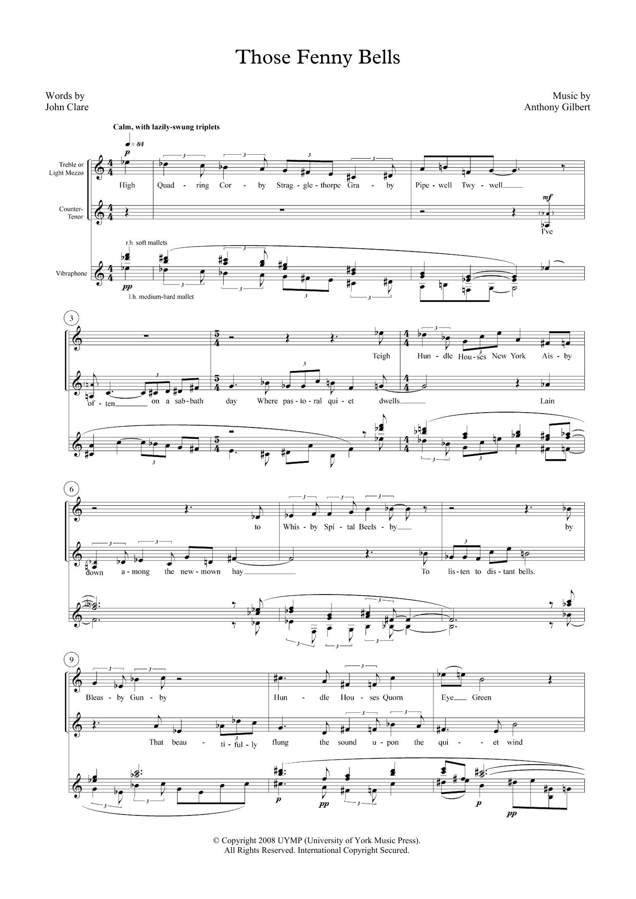 Those Fenny Bells (for mezzo-soprano, counter-tenor and vibraphone) (Piano & Vocal)
