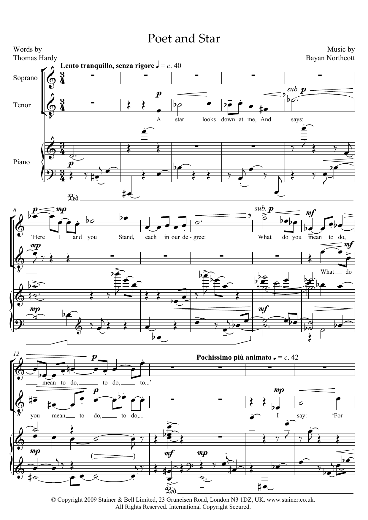 Poet and Star (for soprano, tenor and piano) (Piano & Vocal)