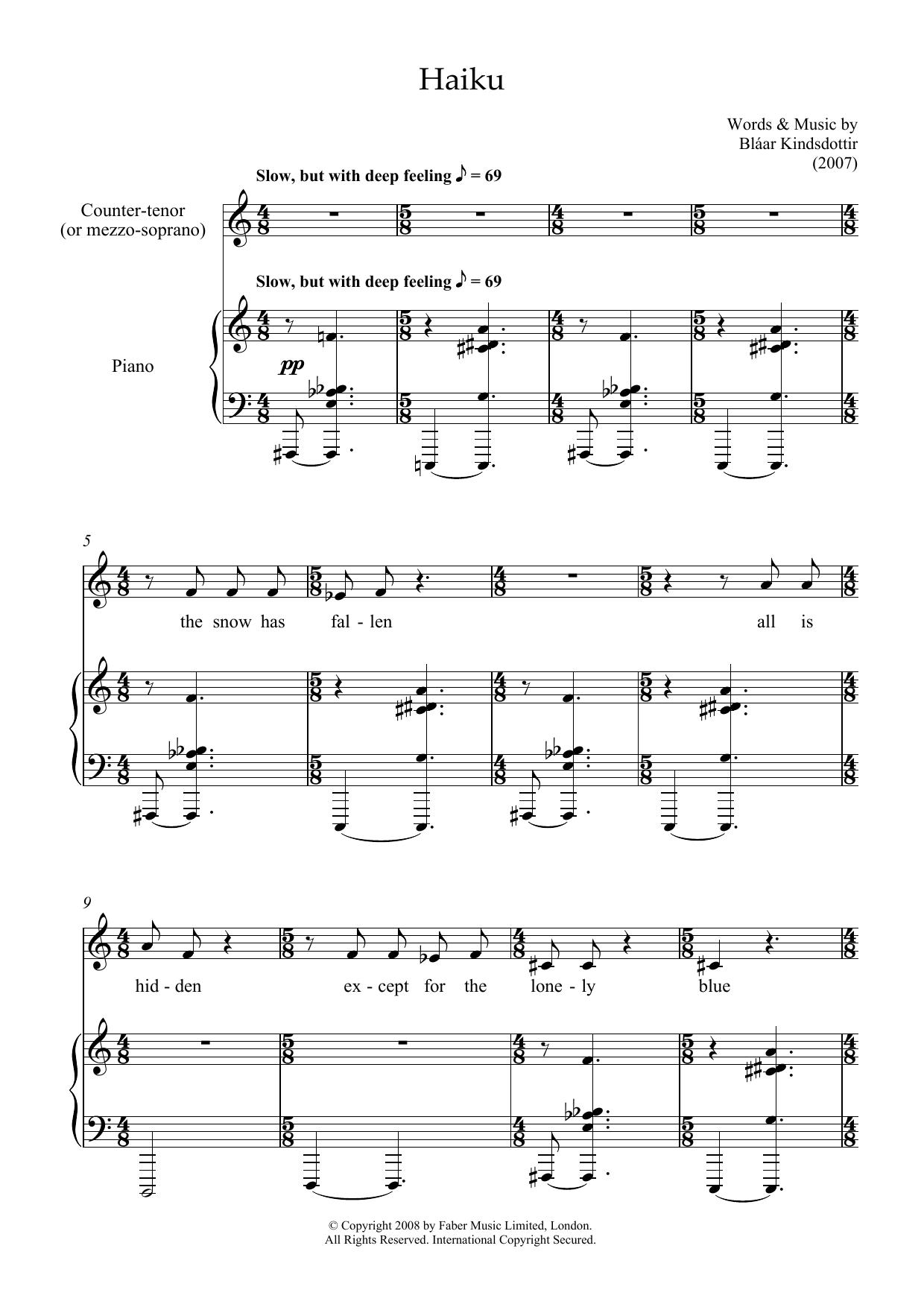 Haiku (counter-tenor & piano) Sheet Music