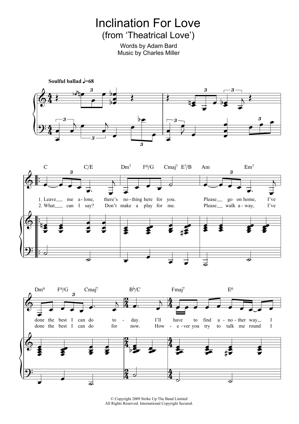 Inclination For Love (from Theatrical Love) (Piano & Vocal)