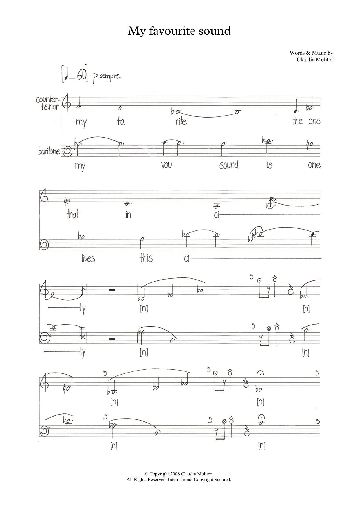 My favourite sound (for counter-tenor and baritone) (Piano & Vocal)