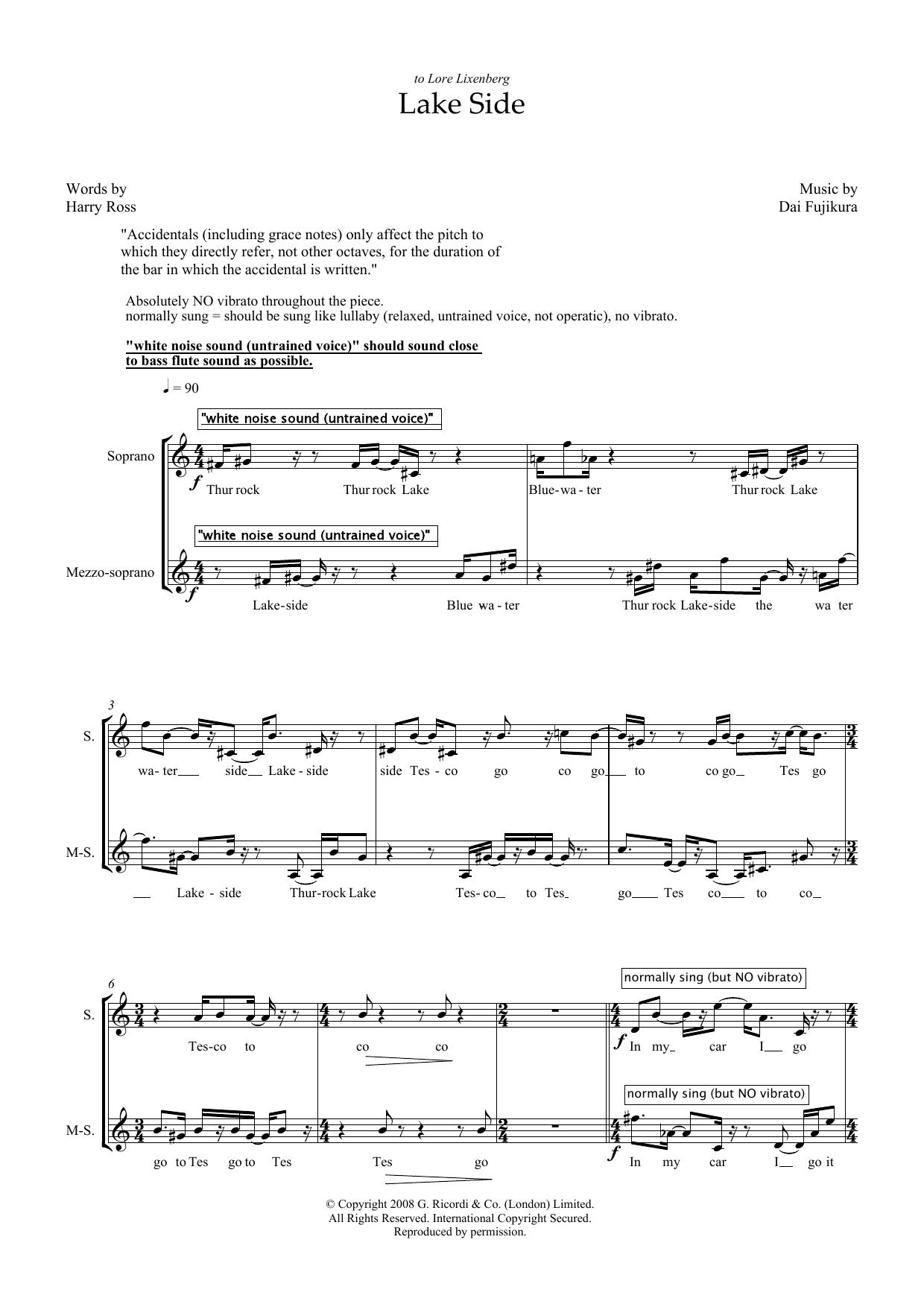 Lake Side (for mezzo-soprano) (Piano & Vocal)