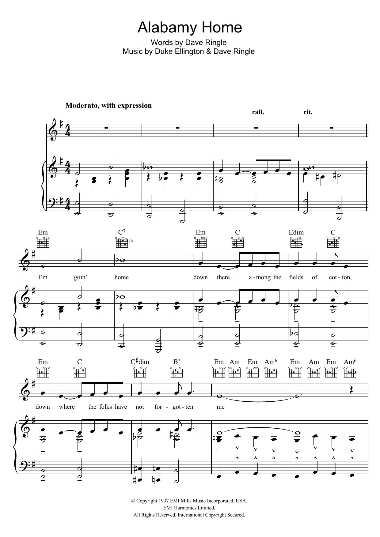 Alabamy Home (Piano, Vocal & Guitar)