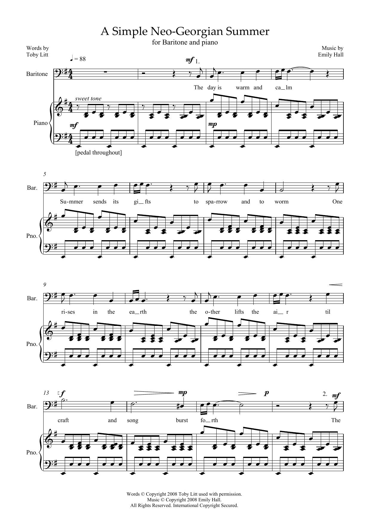 A Simple Neo-Georgian Summer (for baritone and piano) (Piano & Vocal)