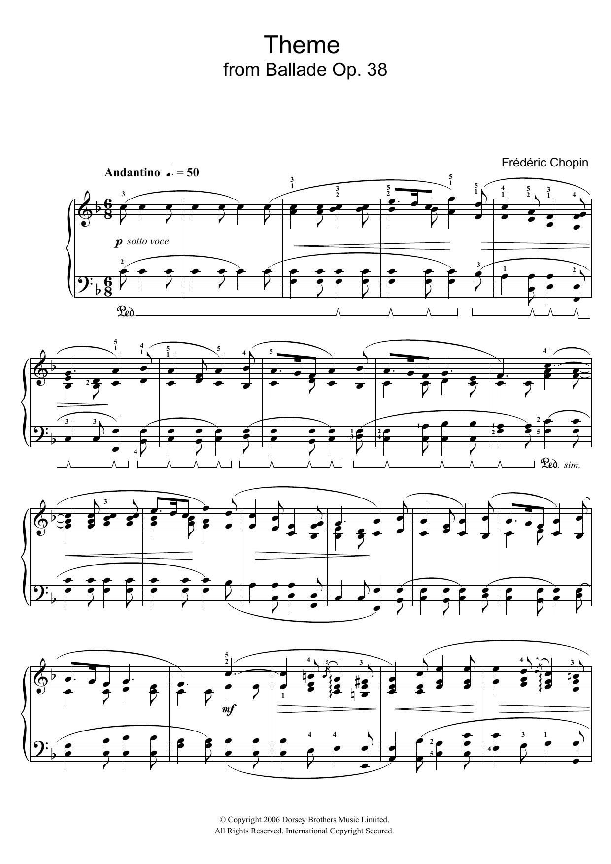 Ballade Op. 38 (Theme) (Piano Solo)