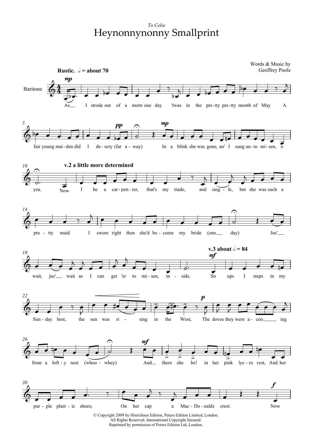 Heynonnynonny Smallprint (for baritone voice) Sheet Music