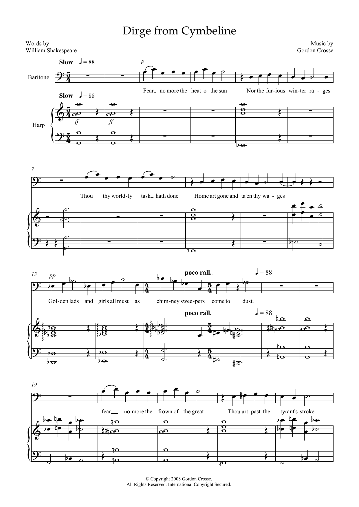 Dirge from Cymbeline (for baritone & harp) Sheet Music