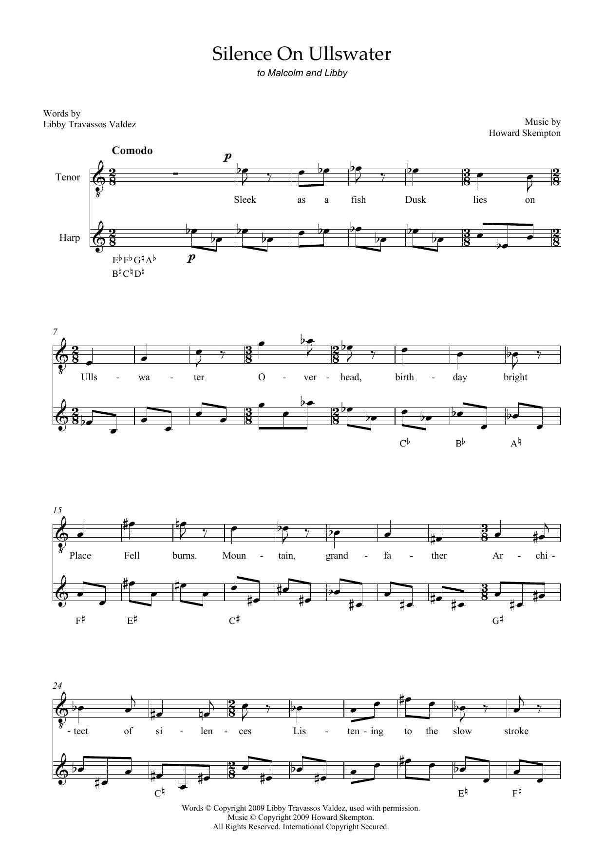 Silence on Ullswater (for tenor and harp) Sheet Music