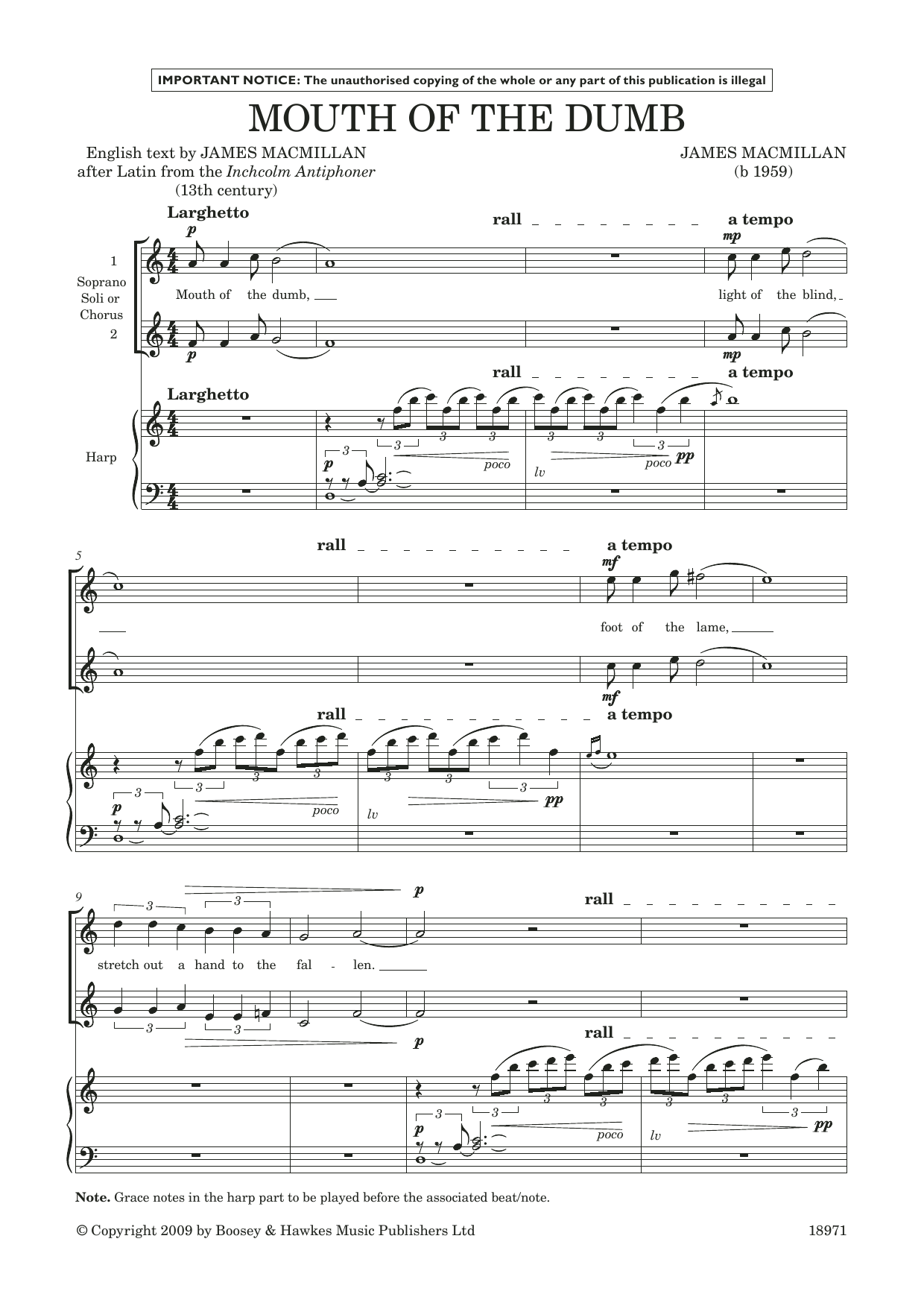 Mouth of the Dumb (for soprano/treble duet and harp) (Piano & Vocal)