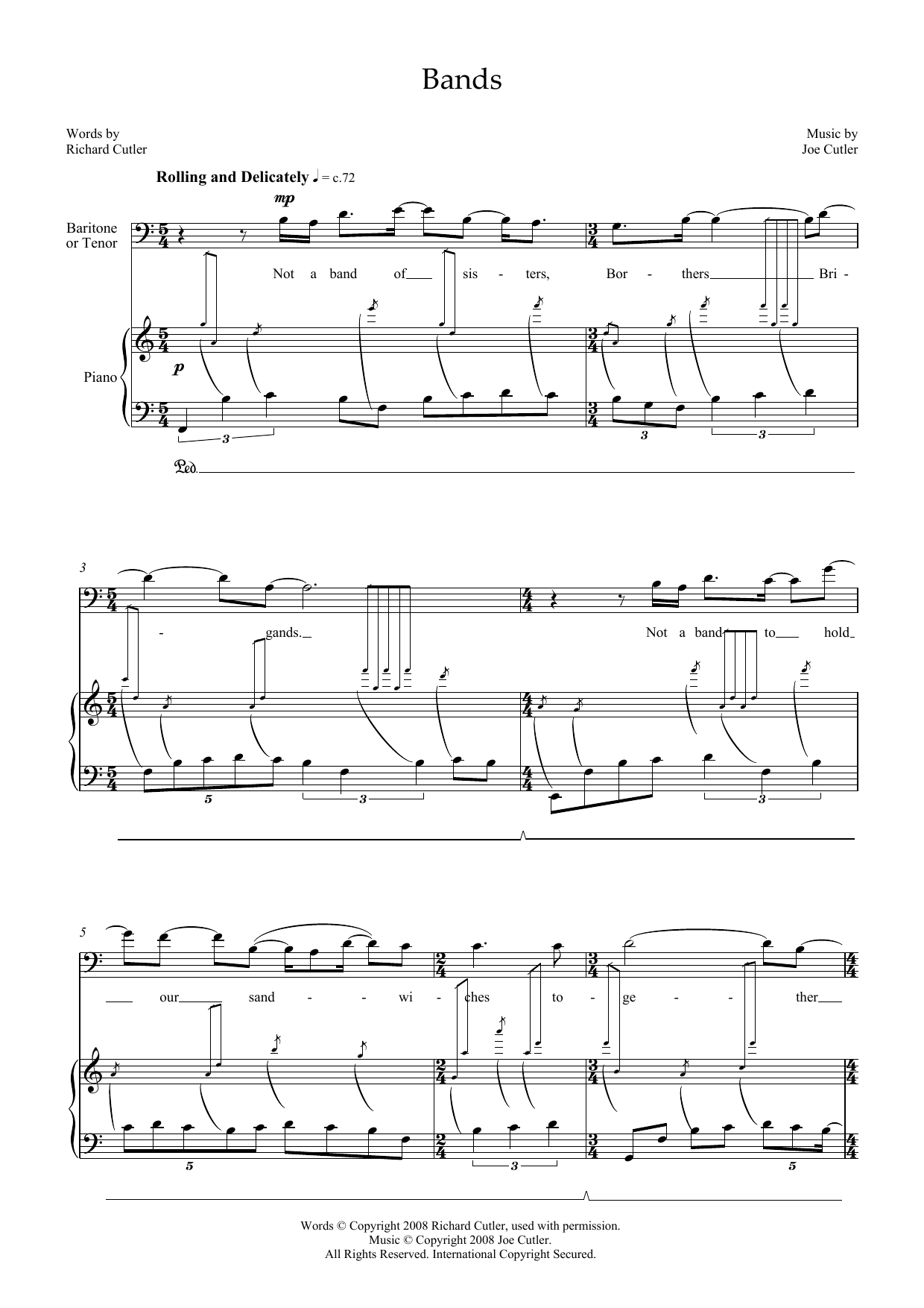 Bands (for tenor & piano) Sheet Music