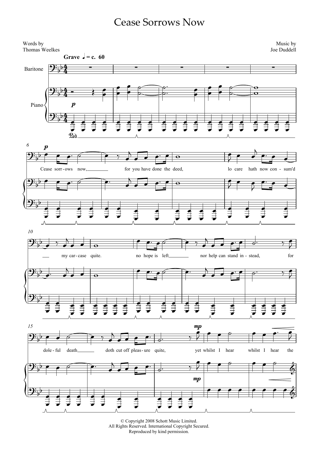 Cease Sorrows Now (for baritone and piano) (Piano & Vocal)