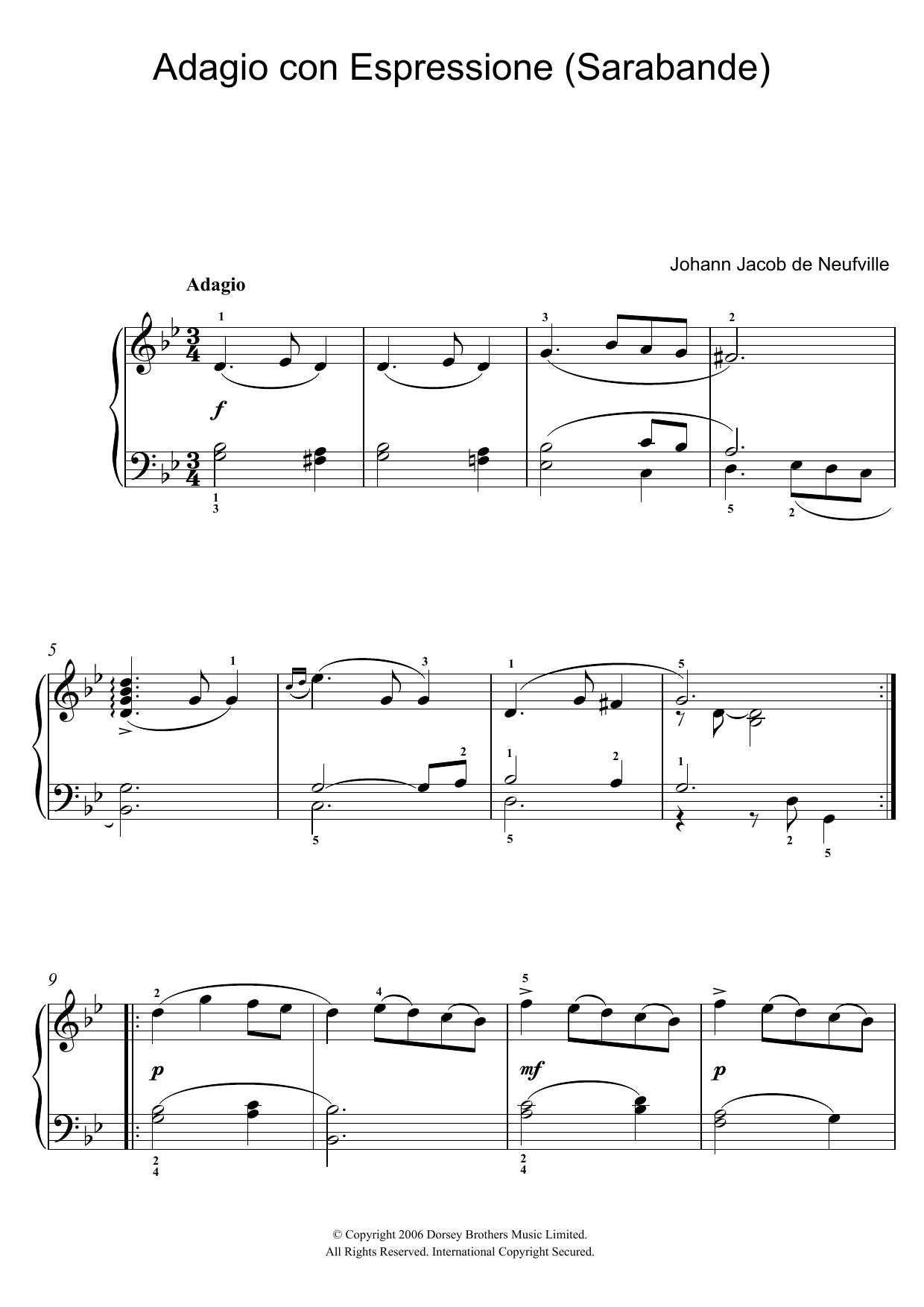 Adagio Con Espressione (Sarabande) (Piano Solo)