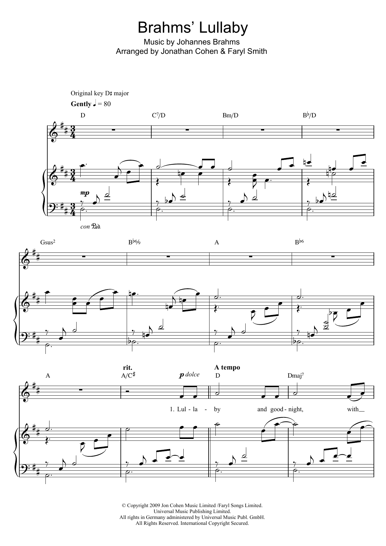 Brahms' Lullaby (Piano & Vocal)