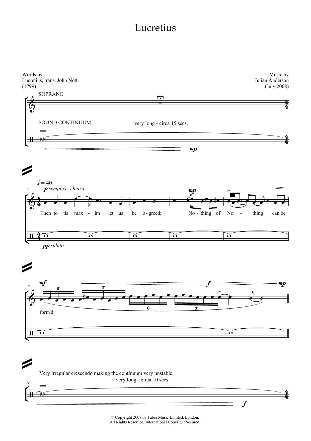 Lucretius (for soprano and percussion) (Piano & Vocal)