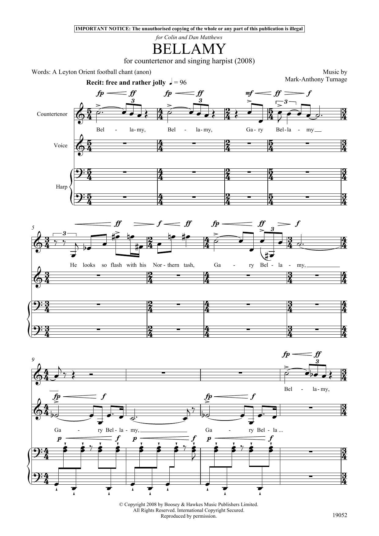 Bellamy (for counter-tenor, tenor and harp) (Piano & Vocal)