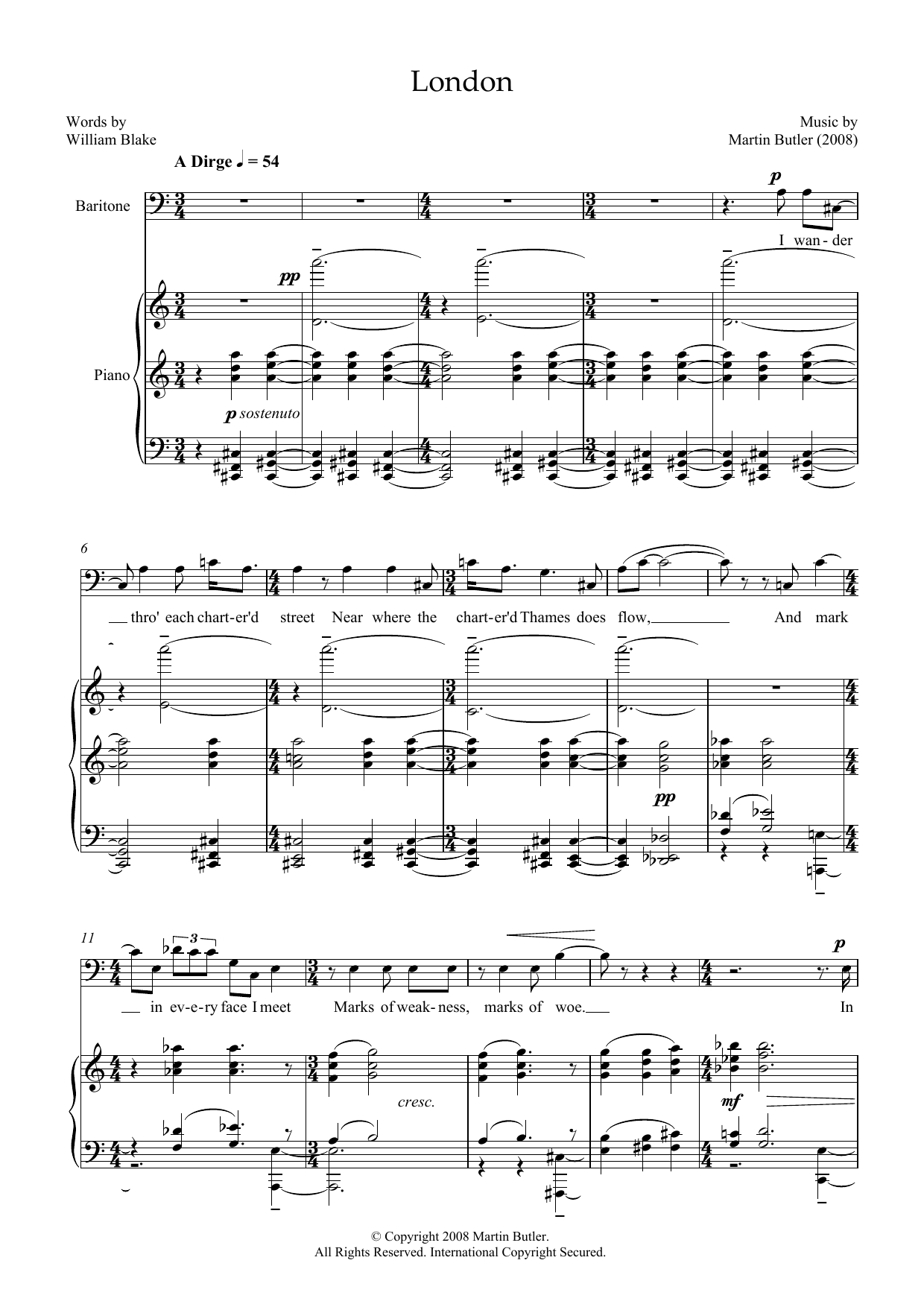 London (for baritone & piano) Sheet Music