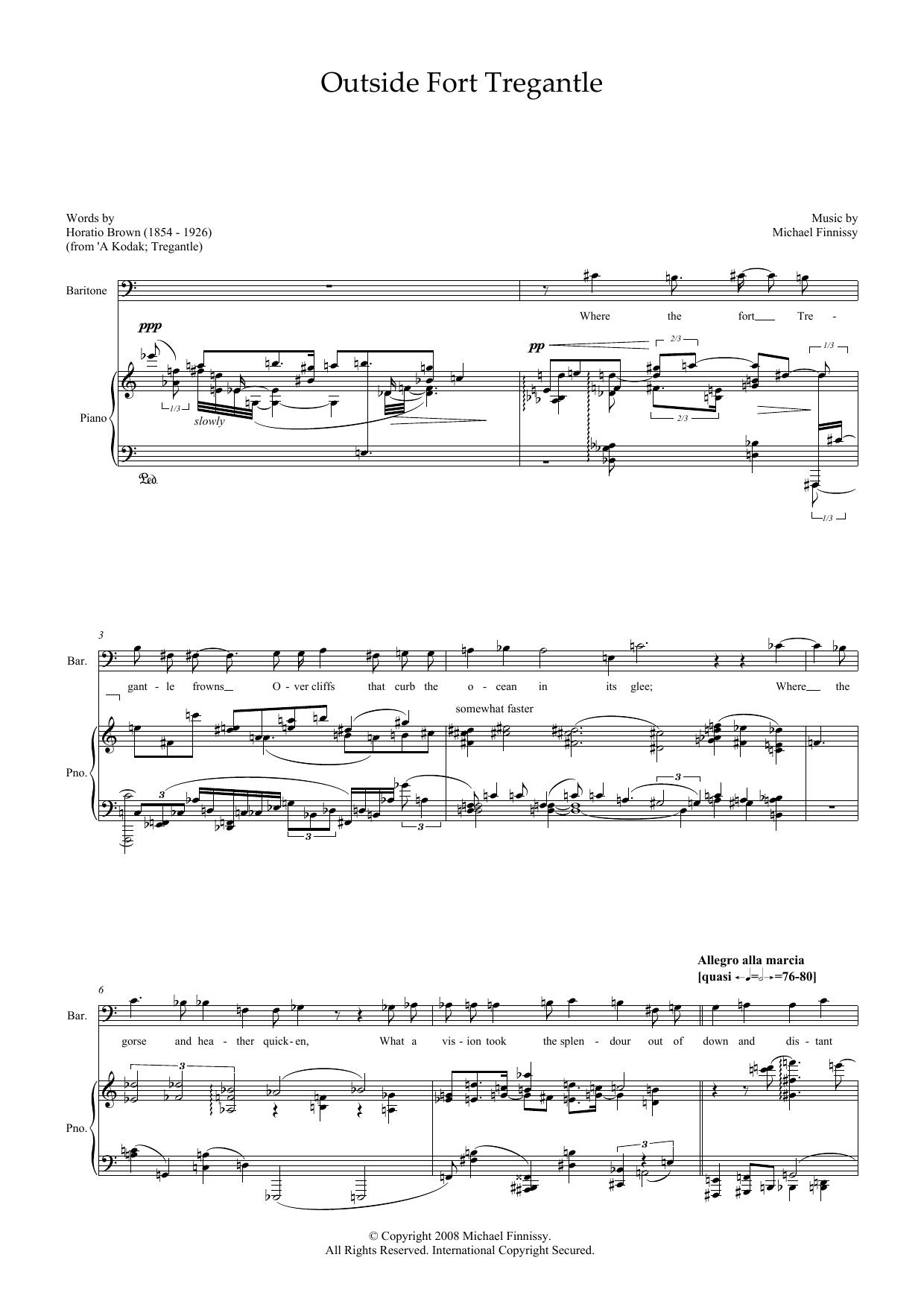 Outside Fort Tregantle (for baritone and piano) (Piano & Vocal)