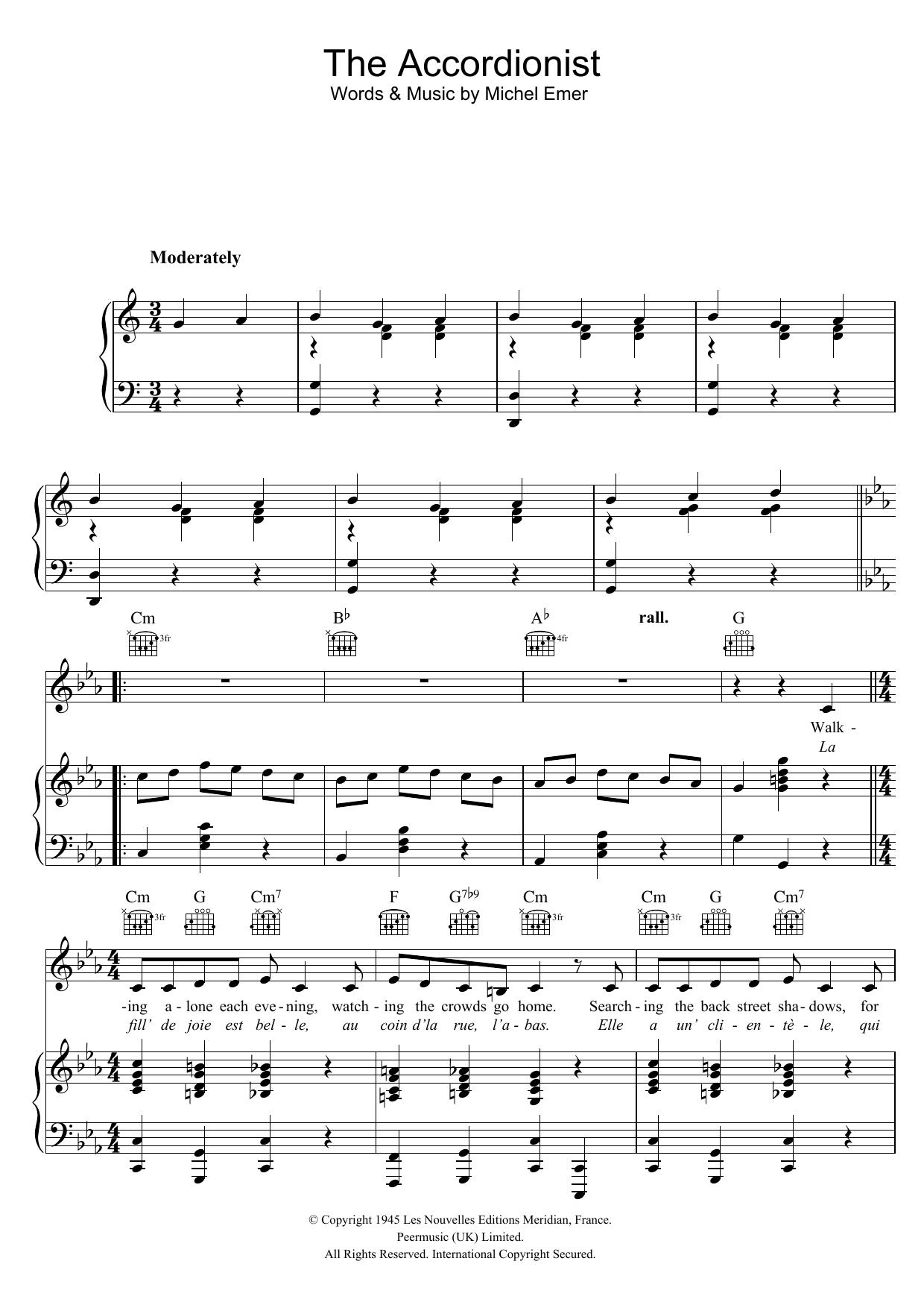 The Accordionist (Piano, Vocal & Guitar)