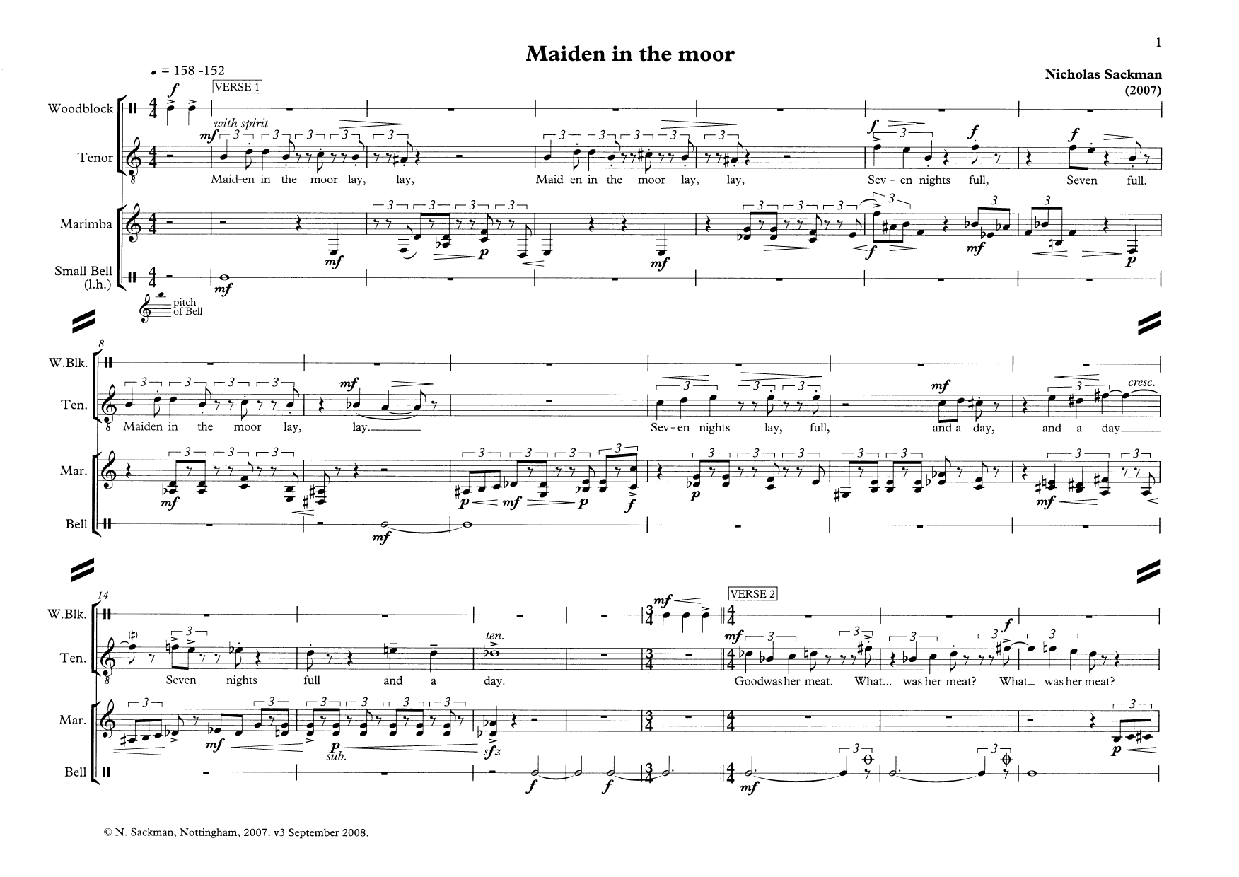 Maiden in the moor (for tenor and percussion) (Piano & Vocal)