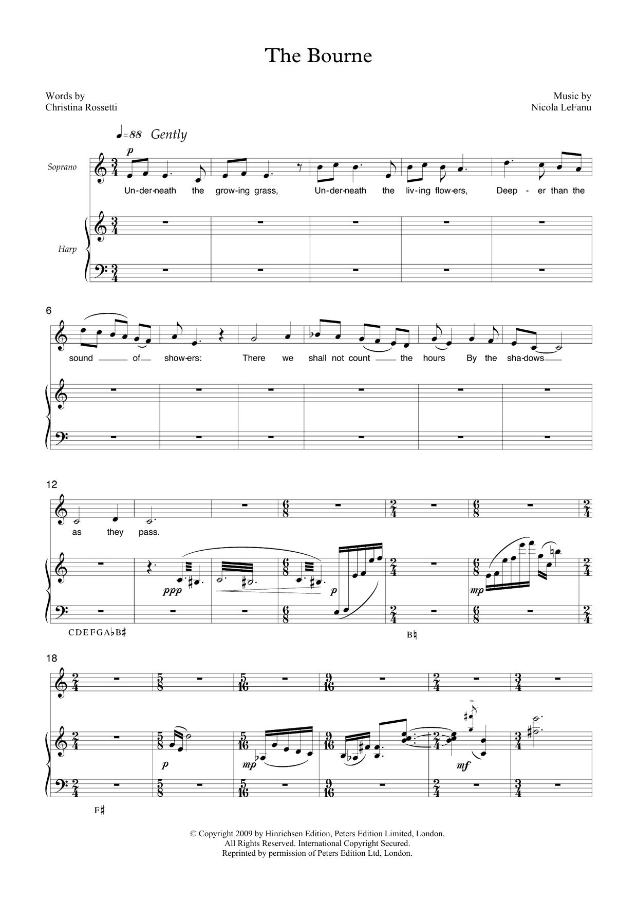 The Bourne (for soprano & harp) Sheet Music