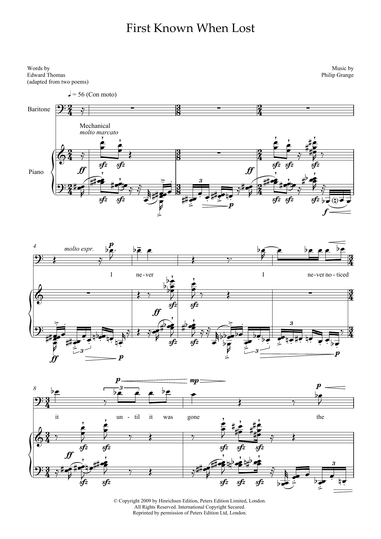 First Known When Lost (for baritone and piano) (Piano & Vocal)
