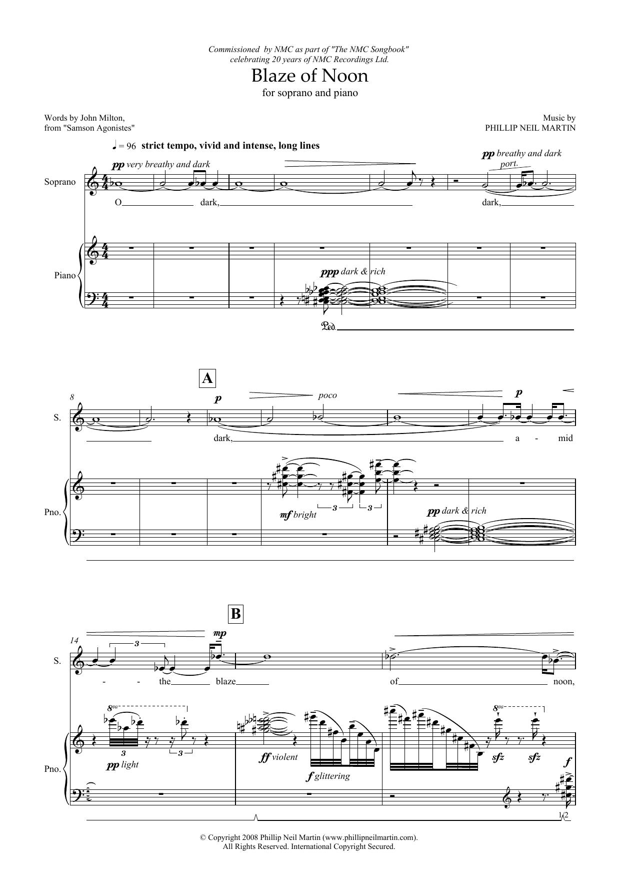 Blaze of Noon (for soprano & piano) Sheet Music