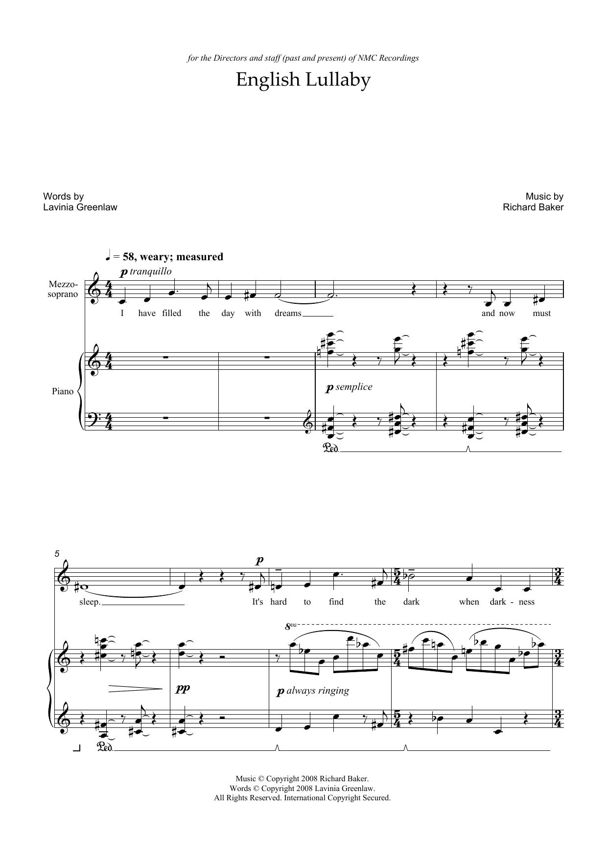 English Lullaby (for mezzo-soprano and piano) (Piano & Vocal)