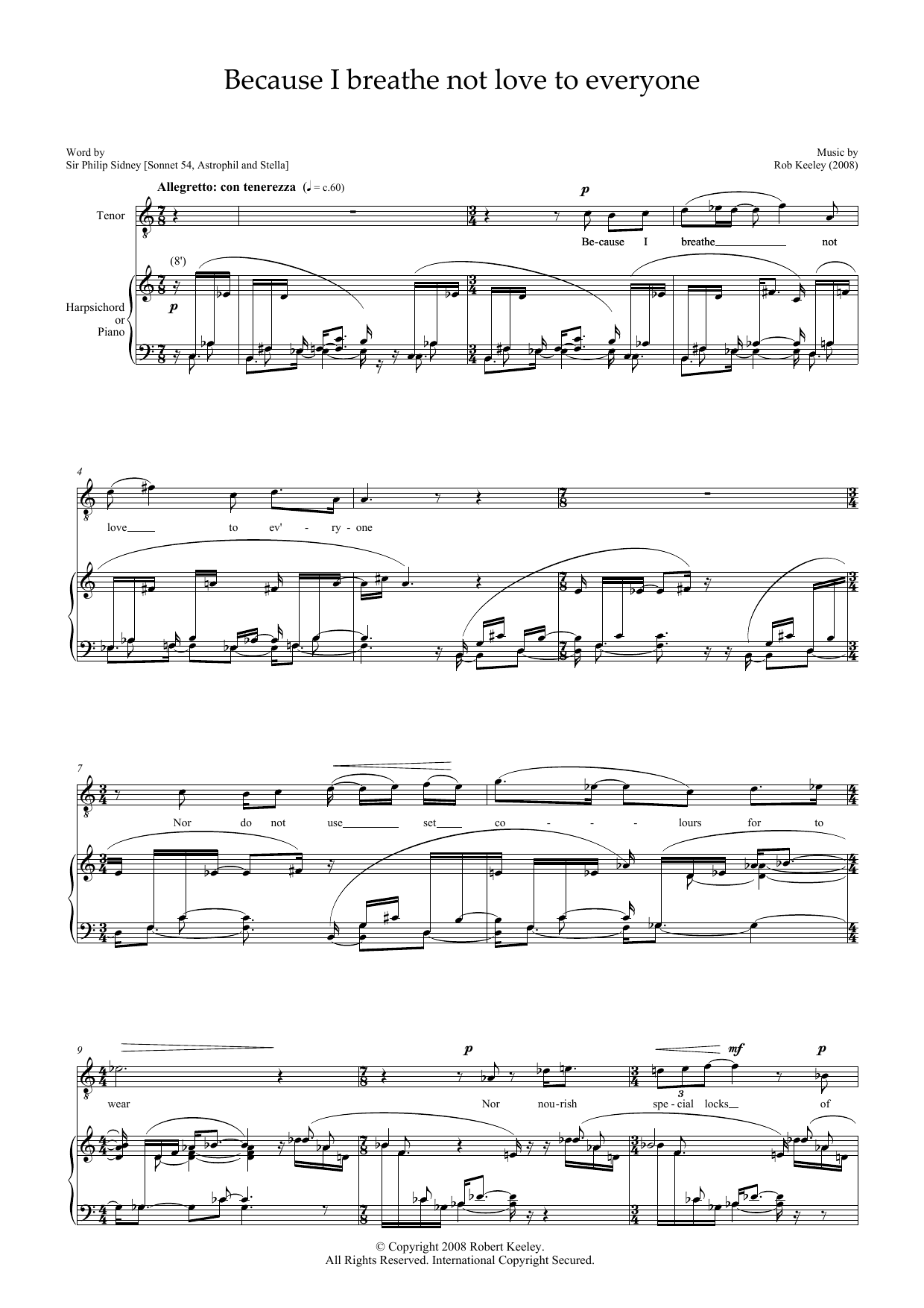 Because I breathe not love to everyone (for tenor & harpsichord) Sheet Music