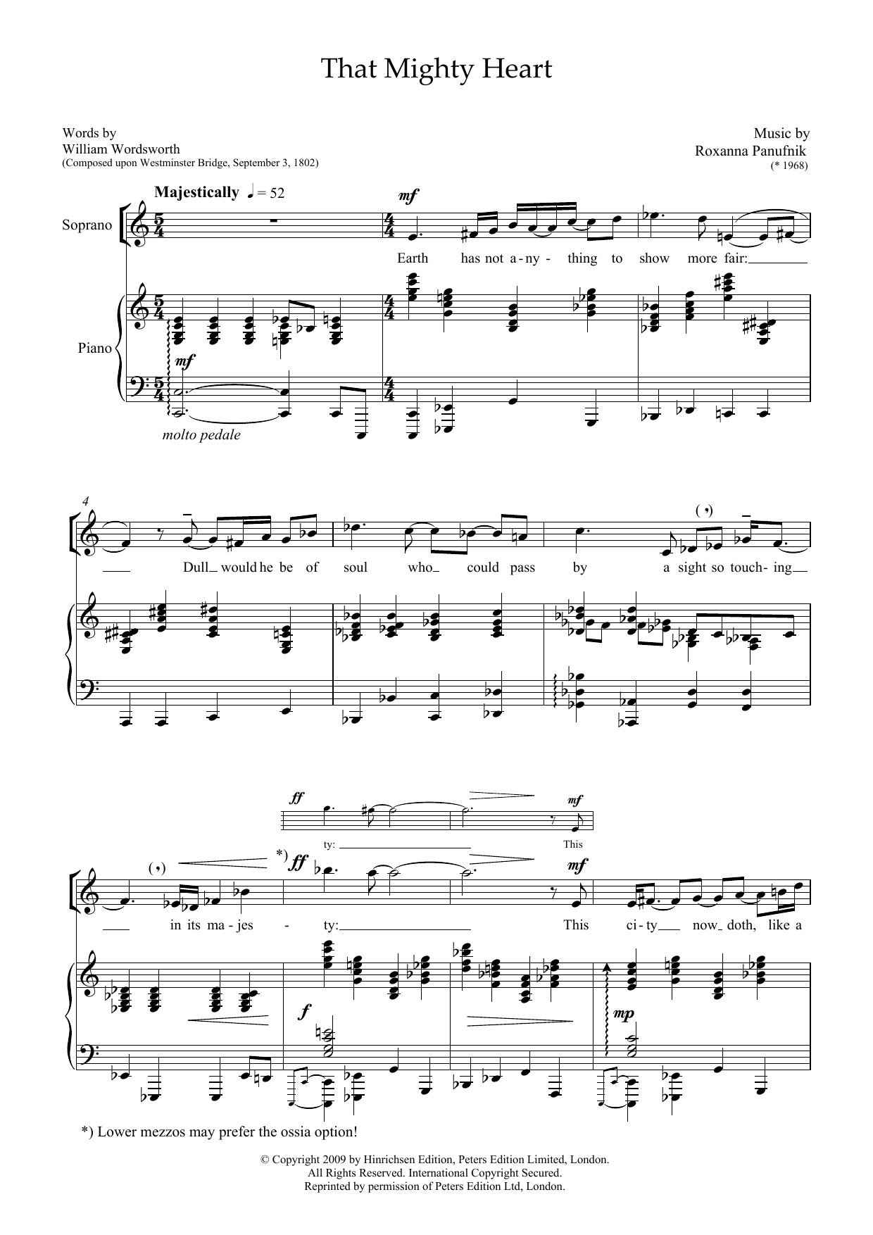 That Mighty Heart (for soprano & piano) Sheet Music