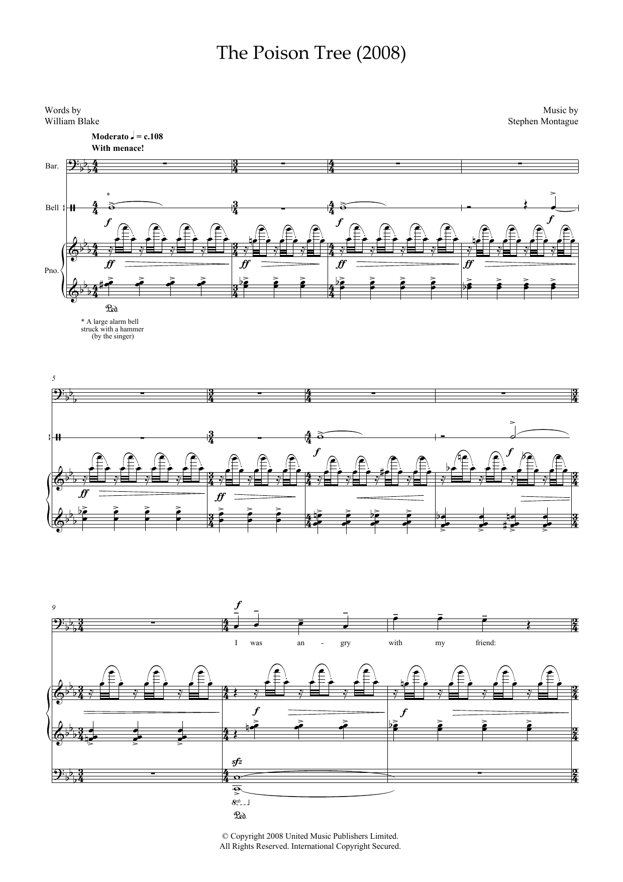 The Poison Tree (for baritone, piano and bell) (Piano & Vocal)