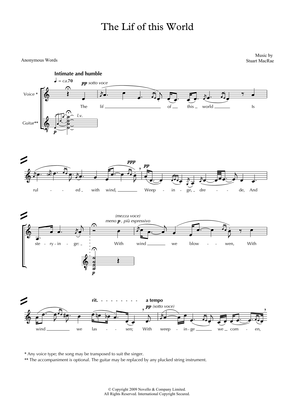 The Lif of this World (for voice & guitar) Sheet Music