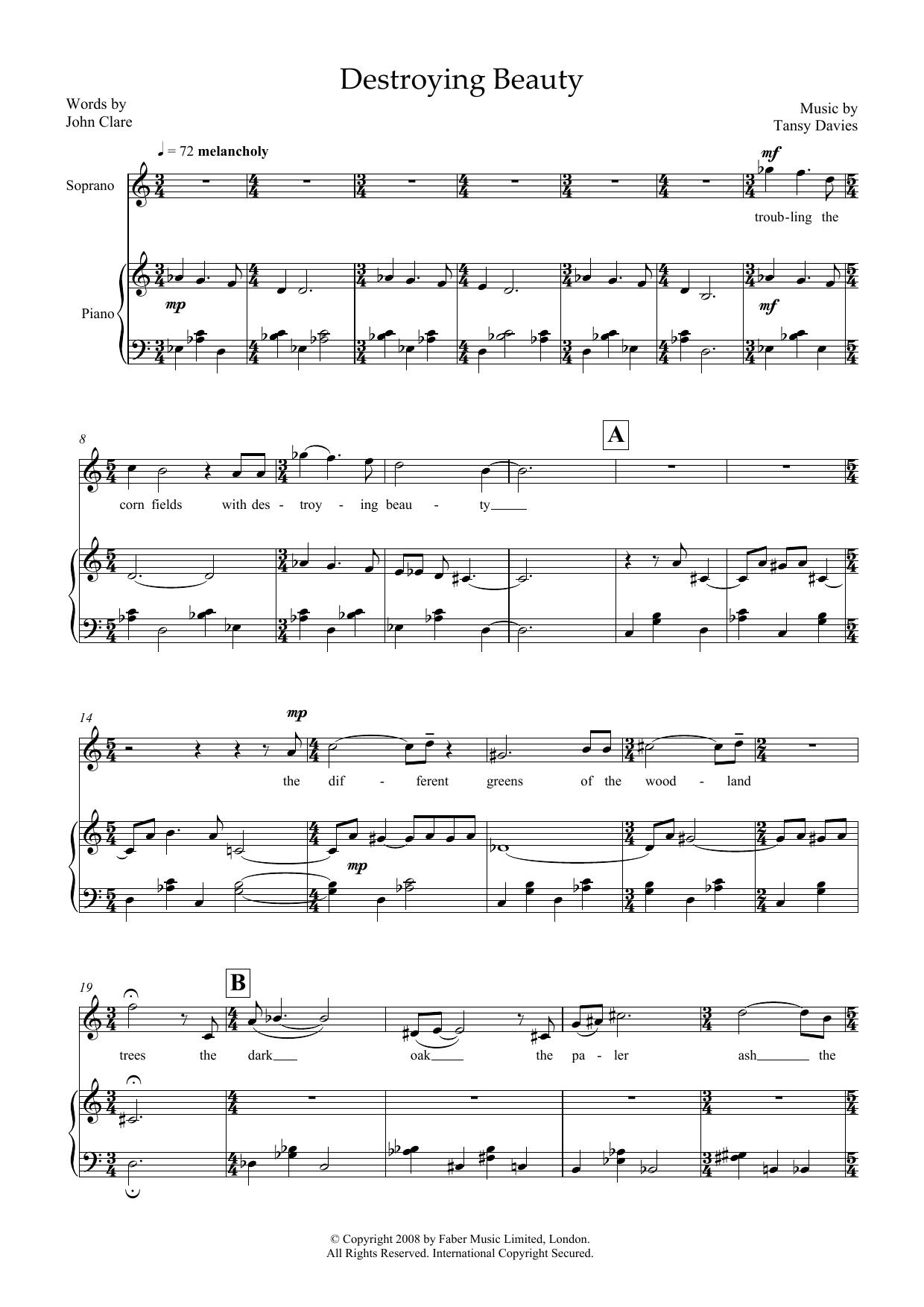 Destroying Beauty (for soprano & piano) Sheet Music