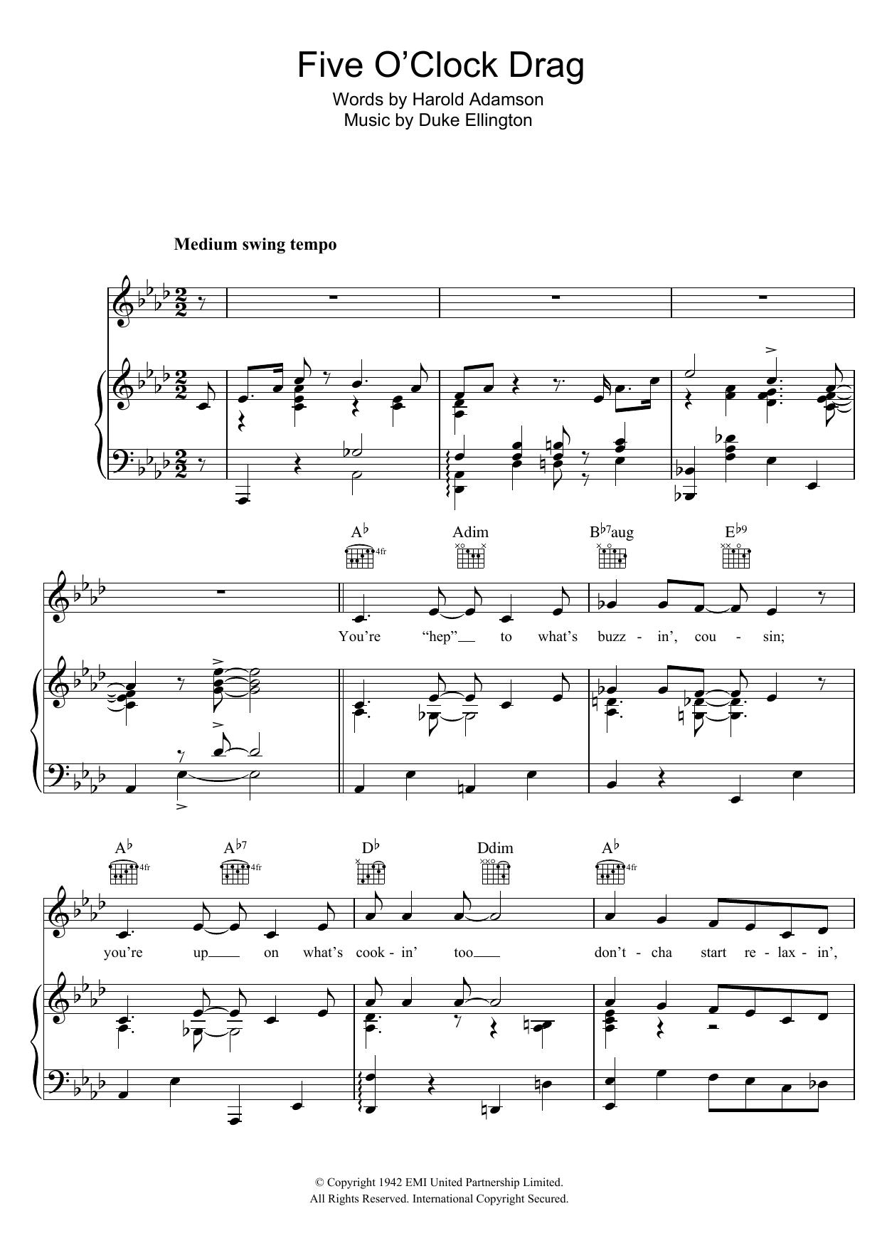 Five O'Clock Drag (Piano, Vocal & Guitar)